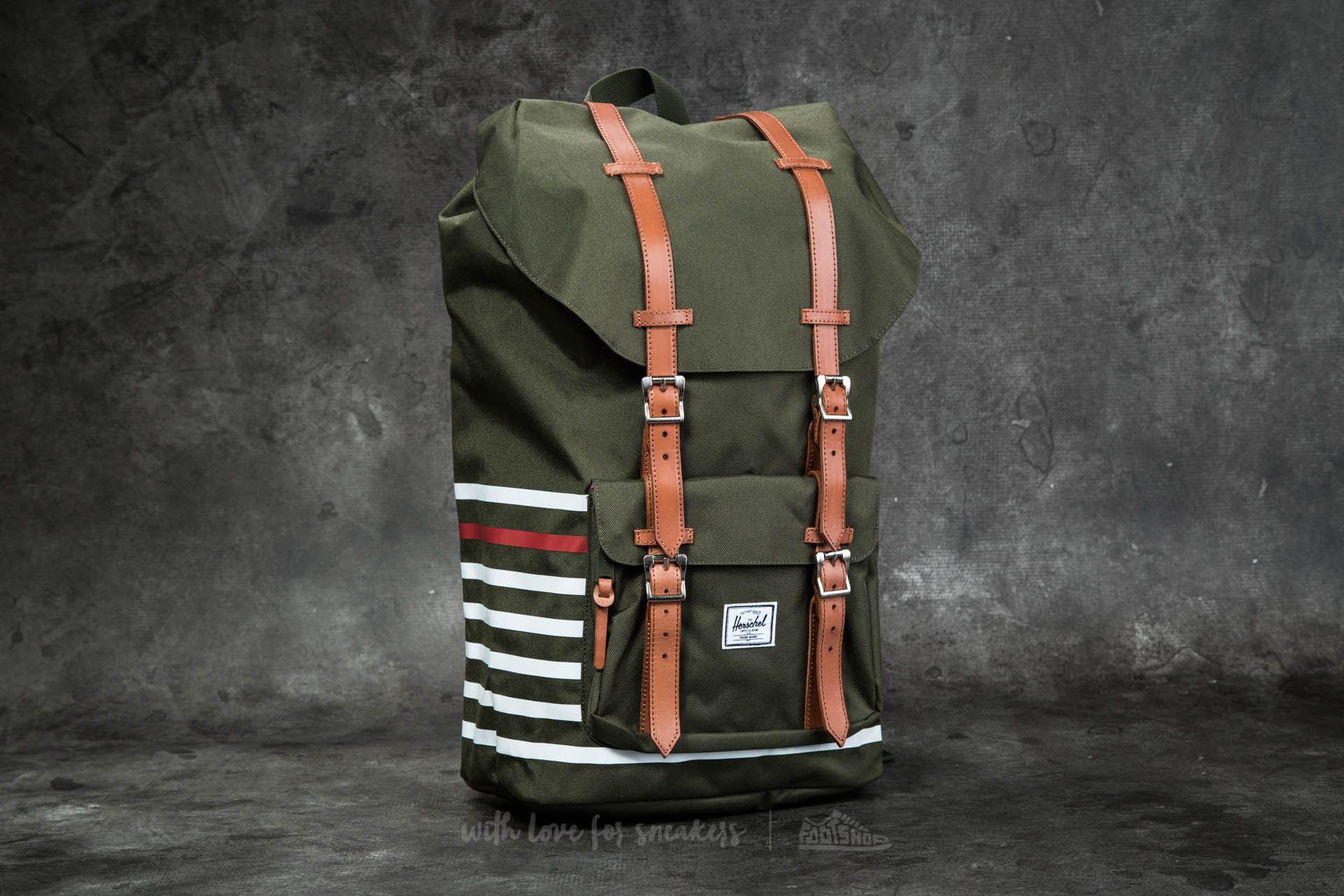 56c0470757e Herschel Supply Co. Little America Backpack Forest Night Offset Stripe   Veggie Tan Leather