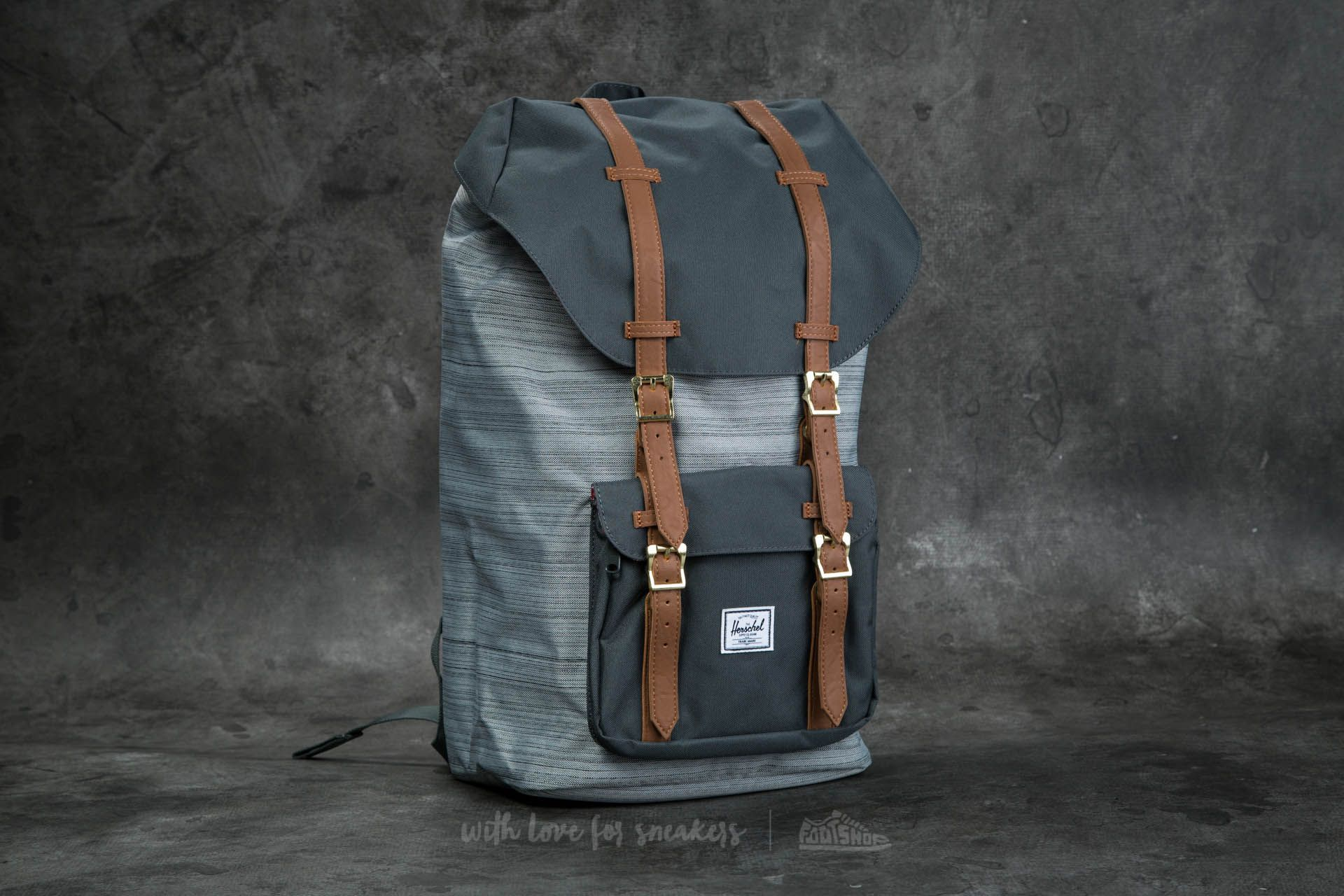 aff9369144 Herschel Supply Co. Little America Backpack. Multi Crosshatch  Dark Shadow   Tan Synthetic Leather