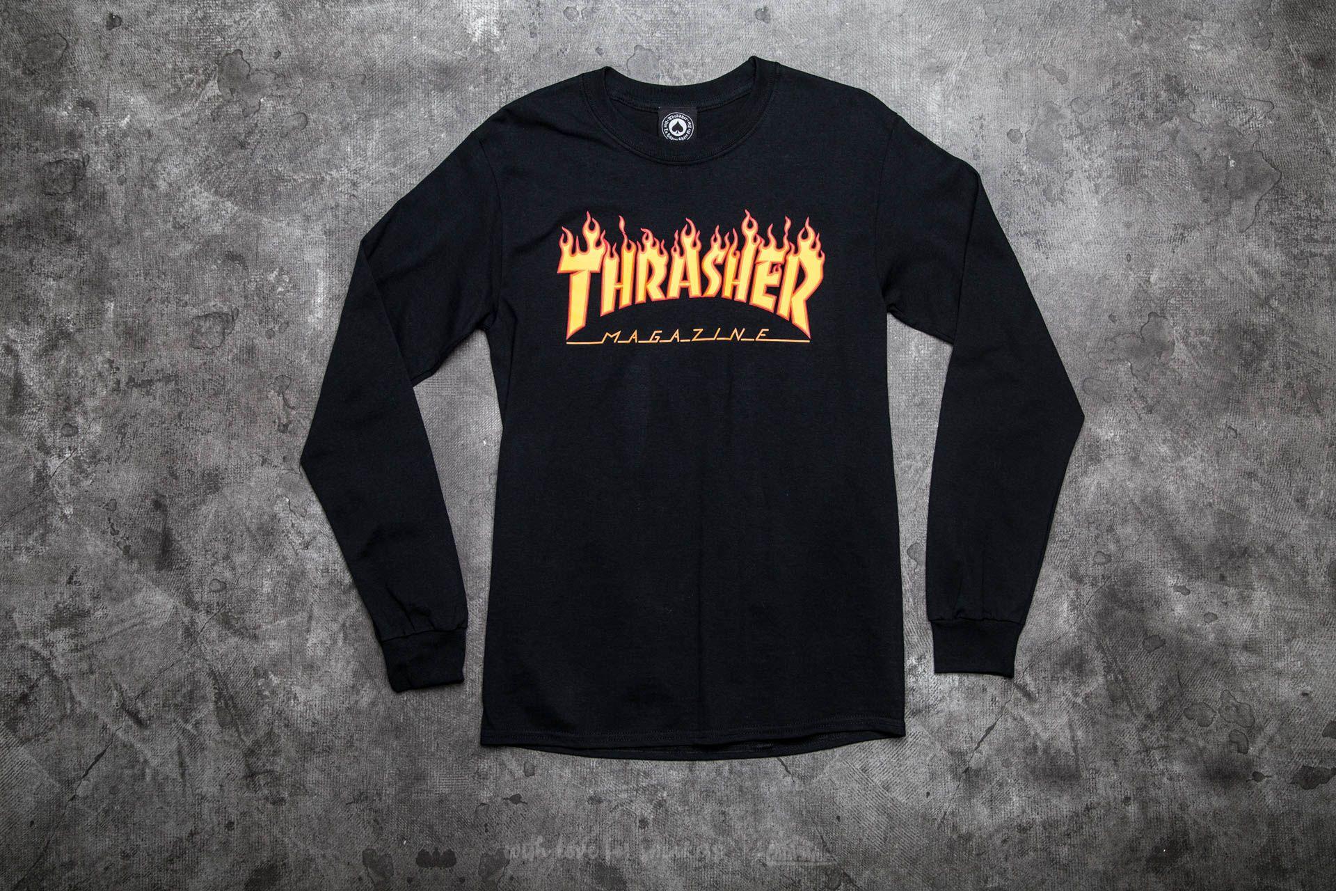 Thrasher Flame Logo Long Sleeve T-Shirt Black  b67243582966