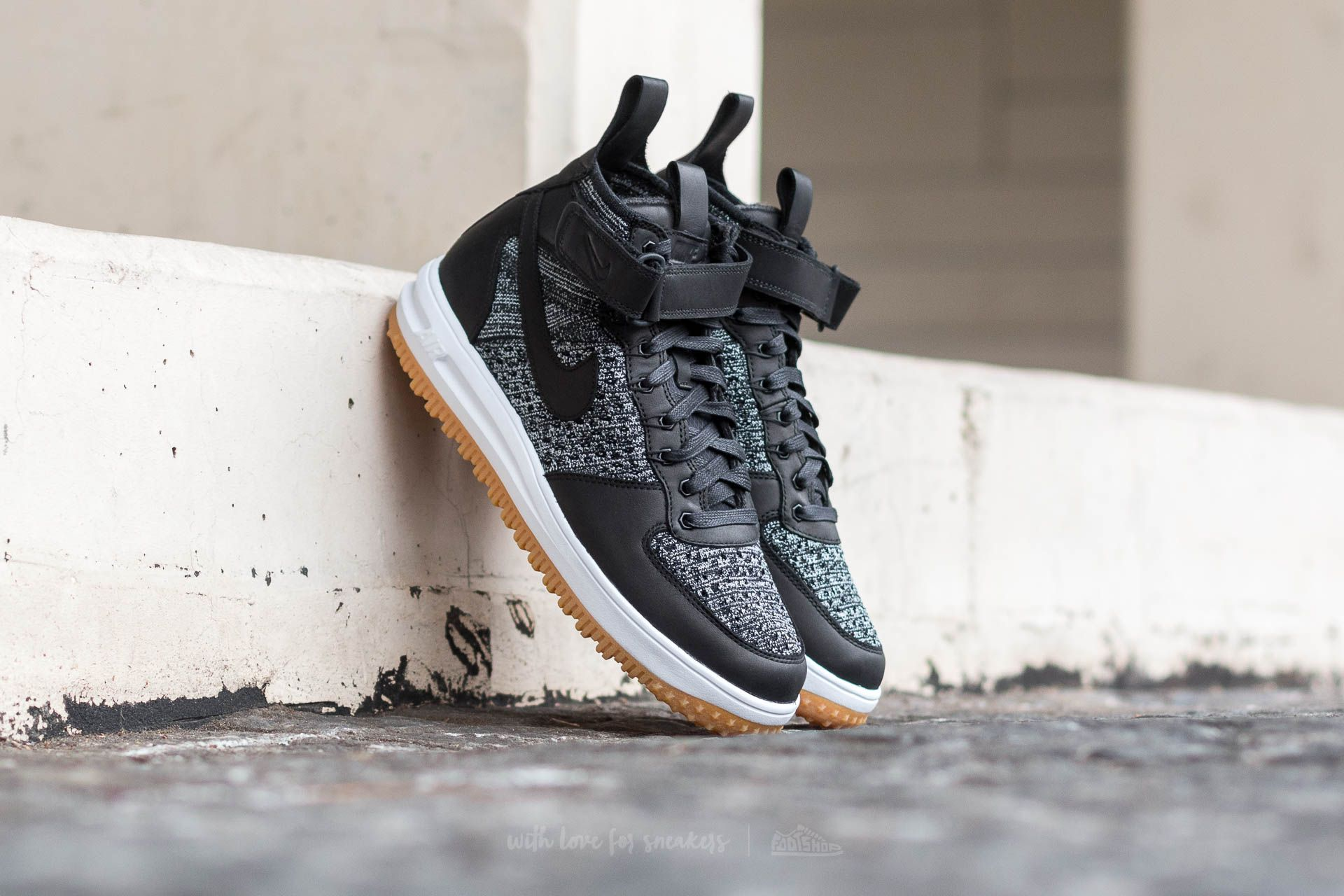 Nike Lunar Force 1 Flyknit Workboot Black White Wolf Grey
