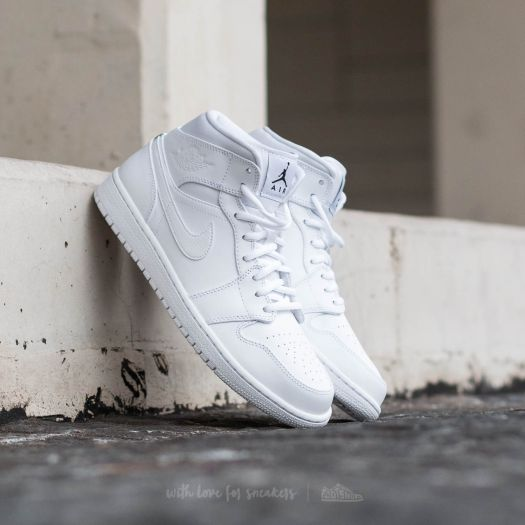 Air Jordan 1 Mid White  Black-White  16e7698914