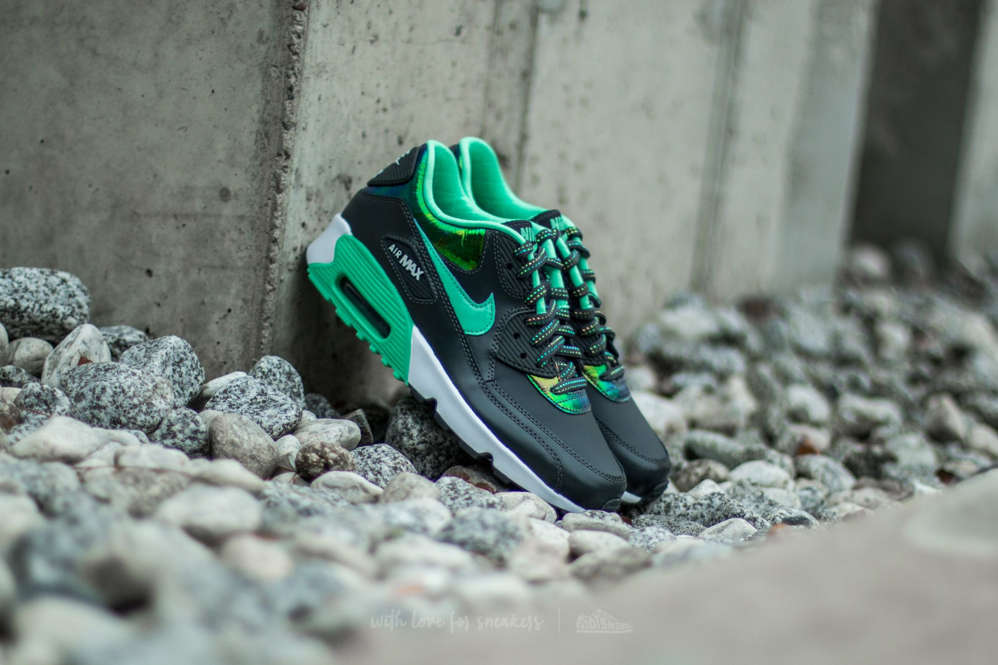 best loved a96e8 724c1 Nike Air Max 90 Se Leather (GS) Anthracite Green Glow-Pure Platinum