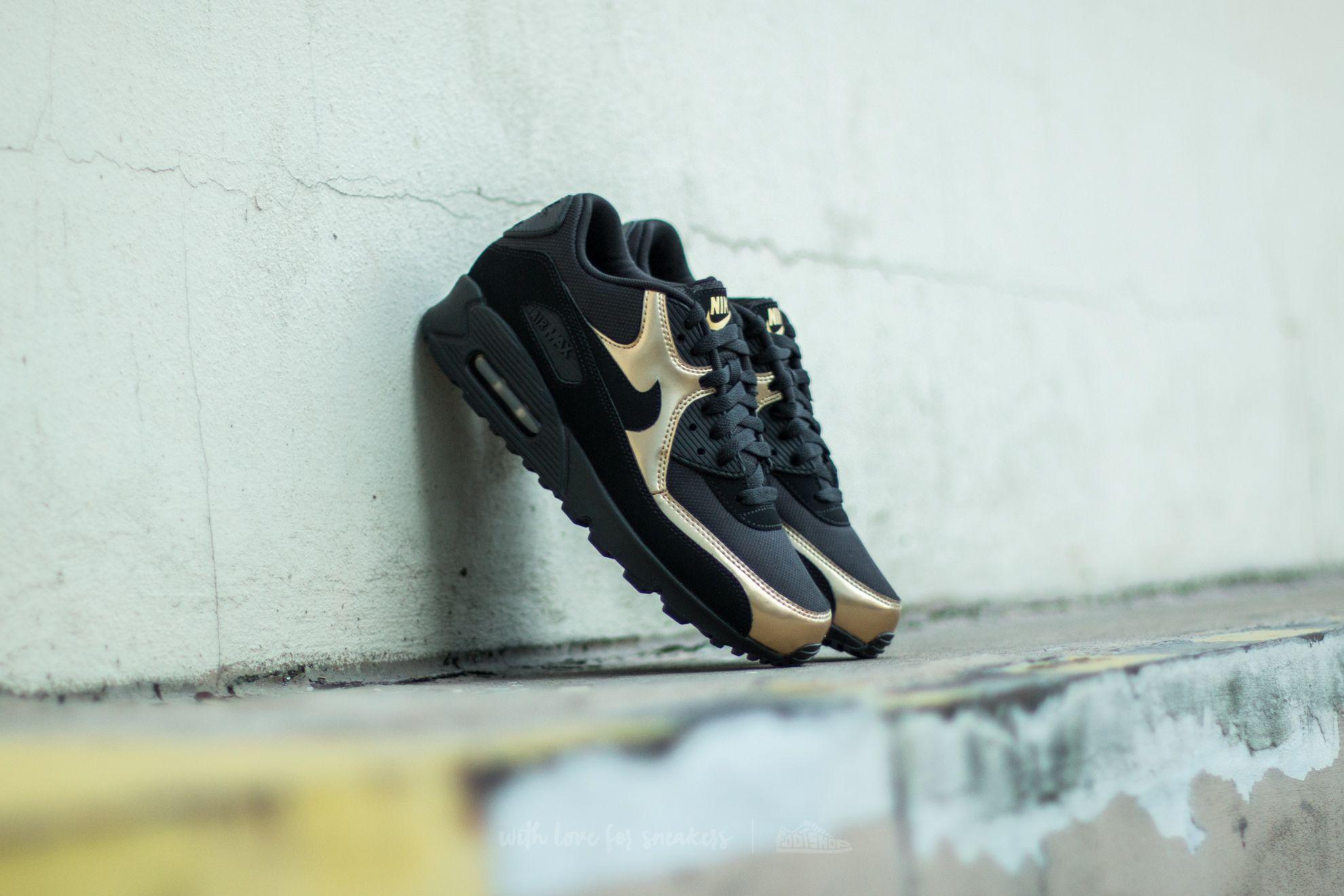 cheaper e6c94 55554 Nike Air Max 90 Essential. Black  Black-Metallic Gold