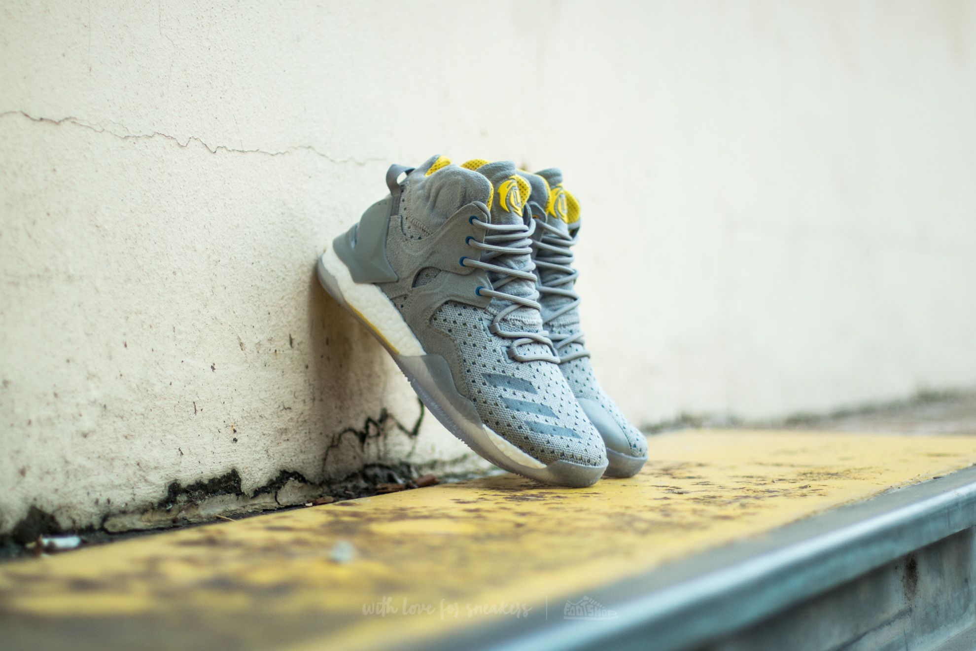 pretty nice 2b4a2 c52af Adidas Consortium x Sneakersnstuff D Rose 7 Primeknit Grey Core Yellow