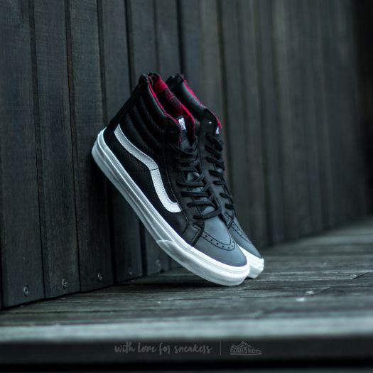 Vans Sk8 Hi Slim Zip (Plaid Flannel) Black  True White  6ed1d35150