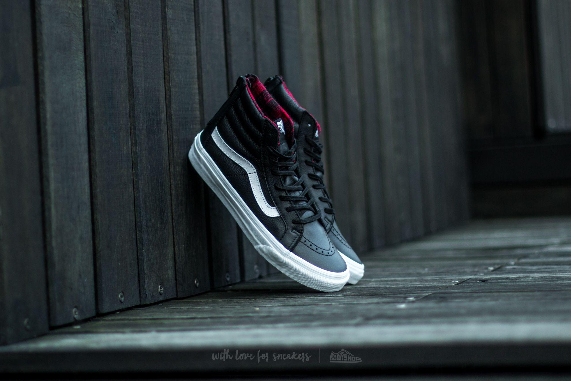 bba153048df1 Vans Sk8 Hi Slim Zip (Plaid Flannel) Black  True White