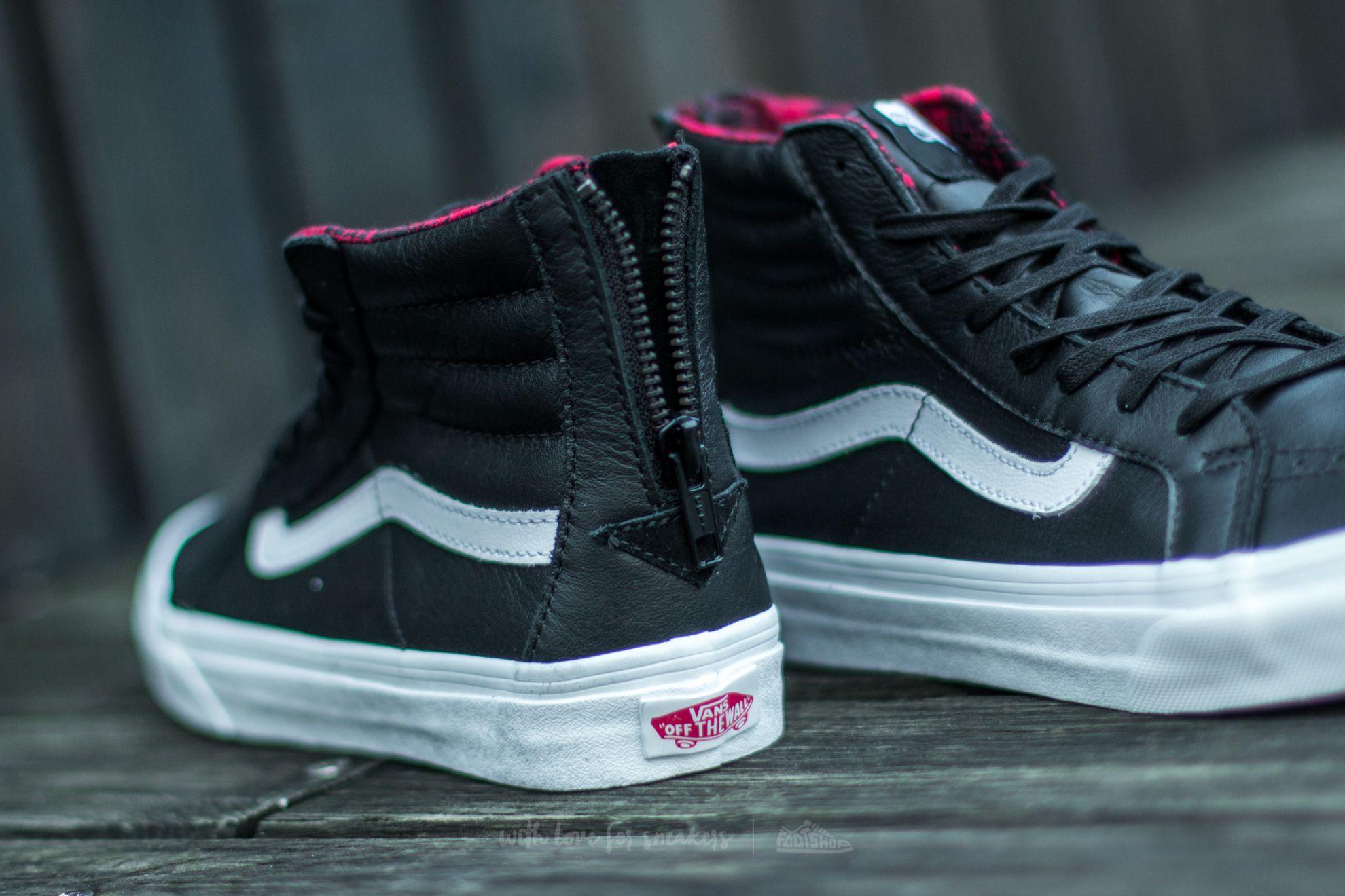 2d0efadd Vans Sk8/Hi Slim Zip (Plaid Flannel) Black/ True White   Footshop