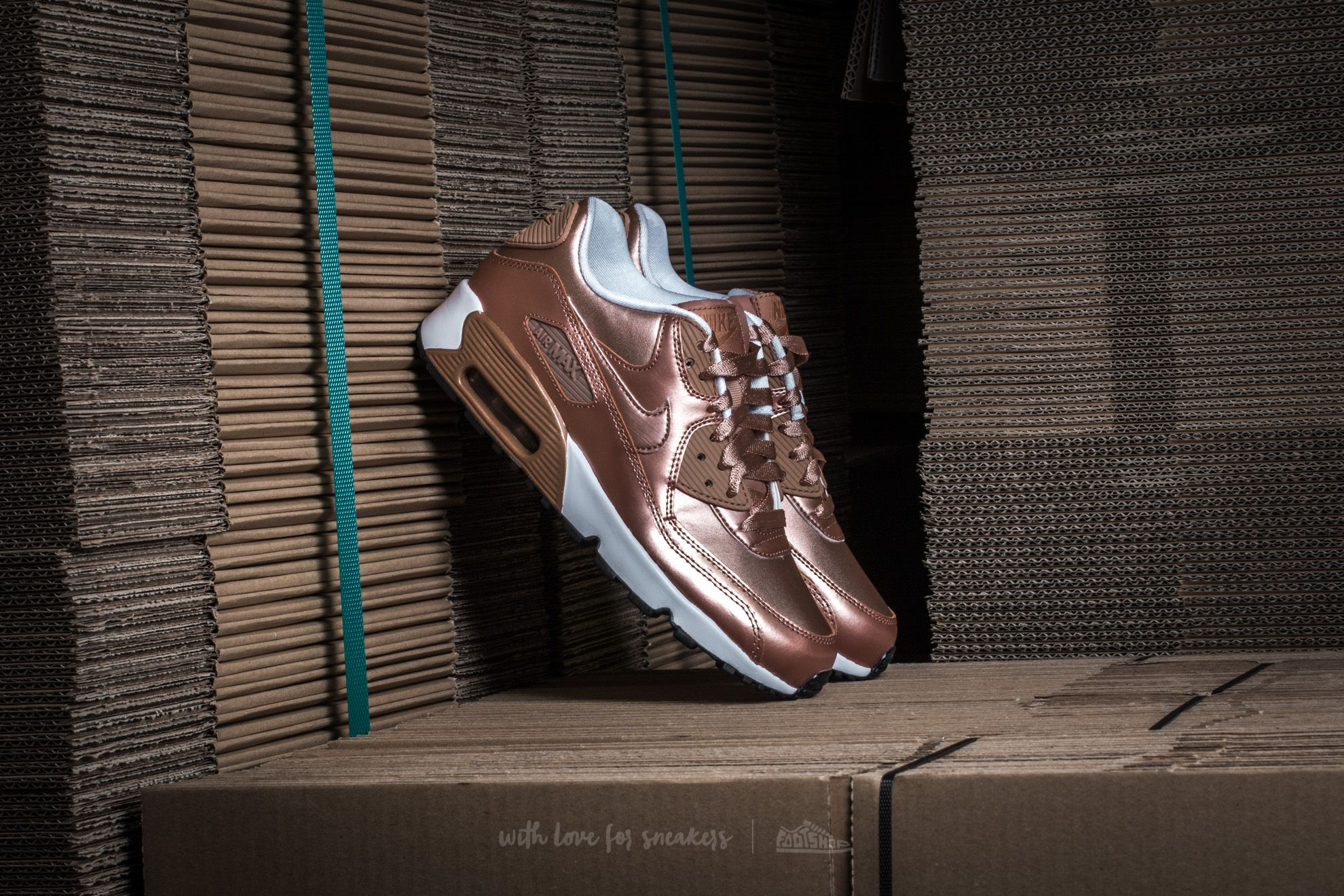 Nike Air Max 90 SE Leather GS (Metallic Red Bronze Metallic Red Bronze)