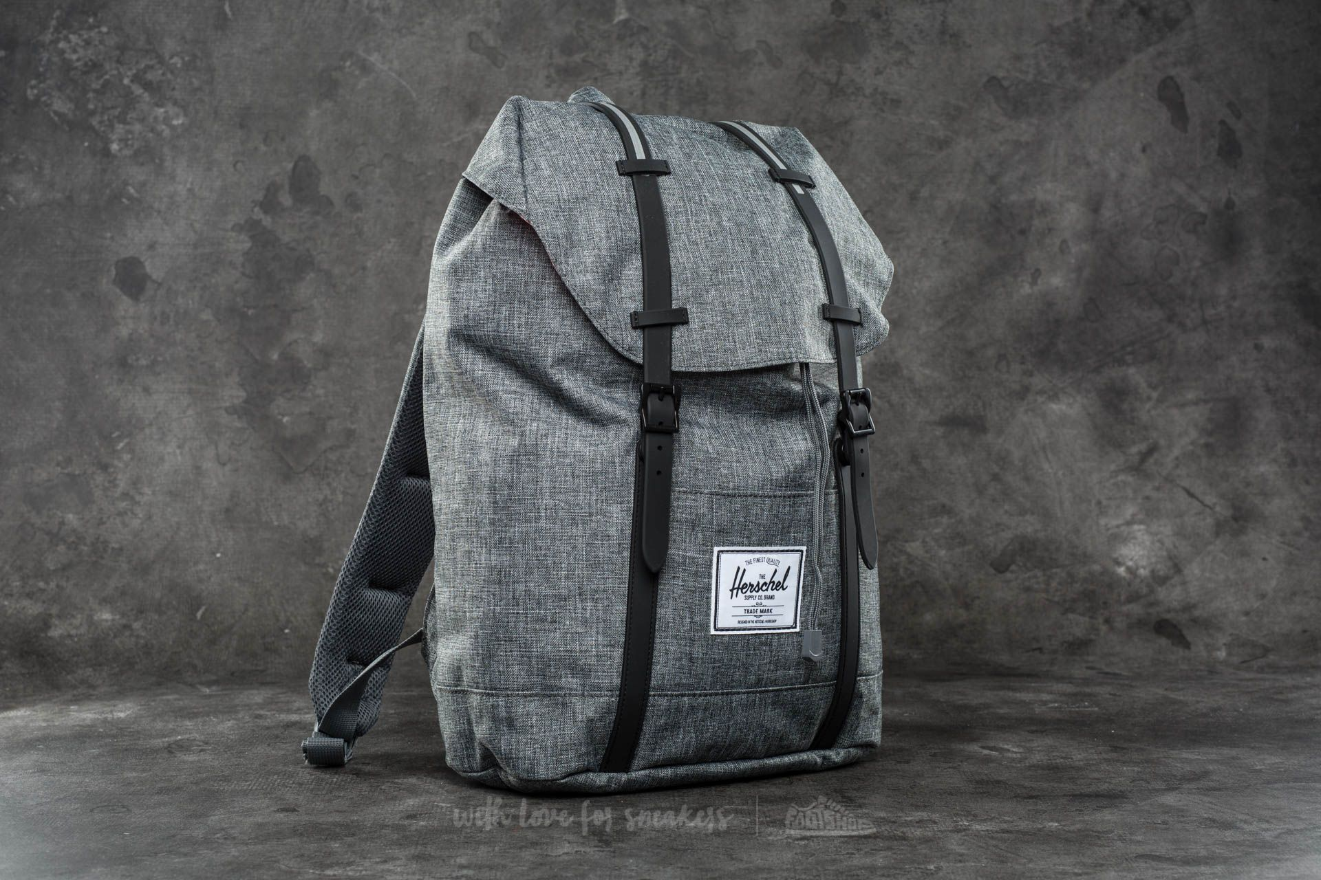 a2326dc6442d Herschel Supply Co. Retreat Backpack. Raven Crosshatch  Black Rubber  ...