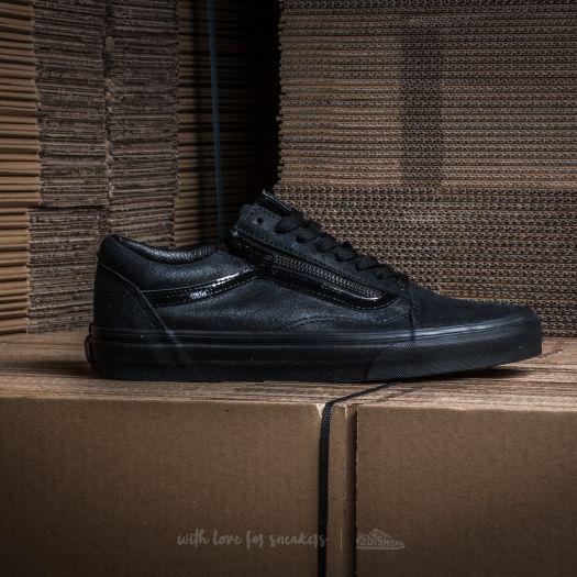 Vans Old Skool Zip (Patent Crackle) Black Black | Footshop