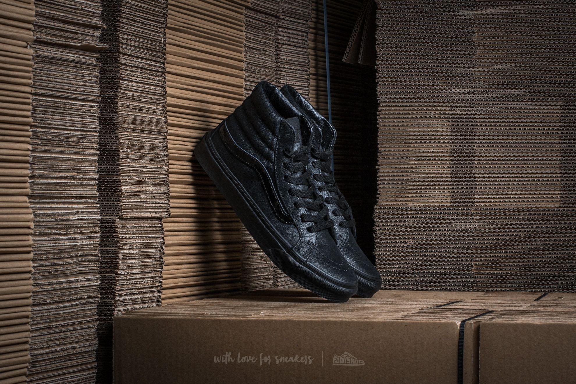 1d4aec121a Vans Sk8-Hi Slim (Patent Crackle) Black  Black