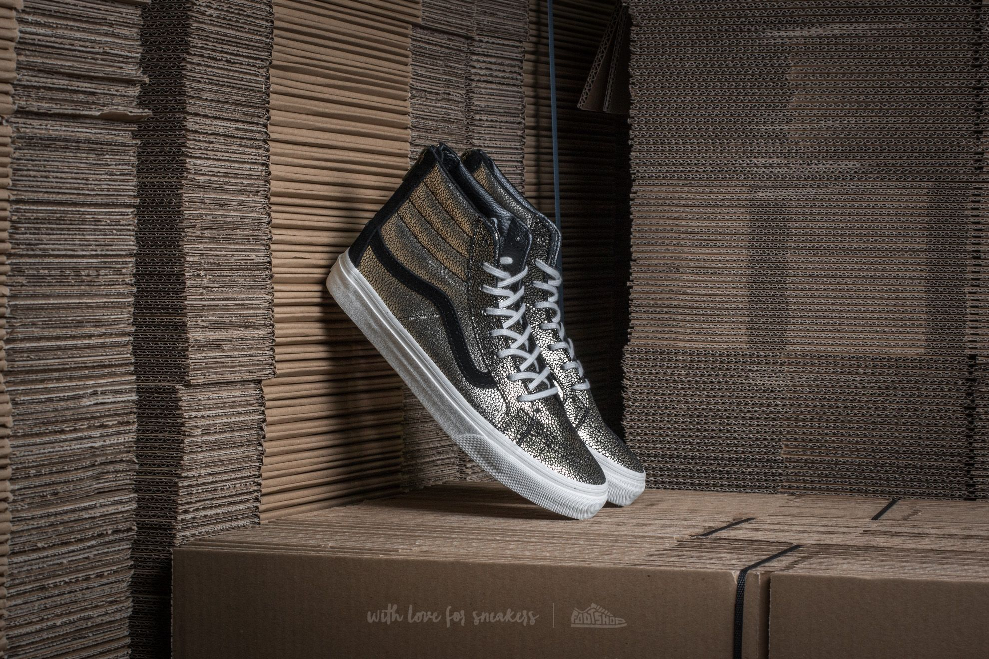 36f6fb1377 Vans Sk8-Hi Slim Zip (Gold Dots) Gold  Blanc De Blanc