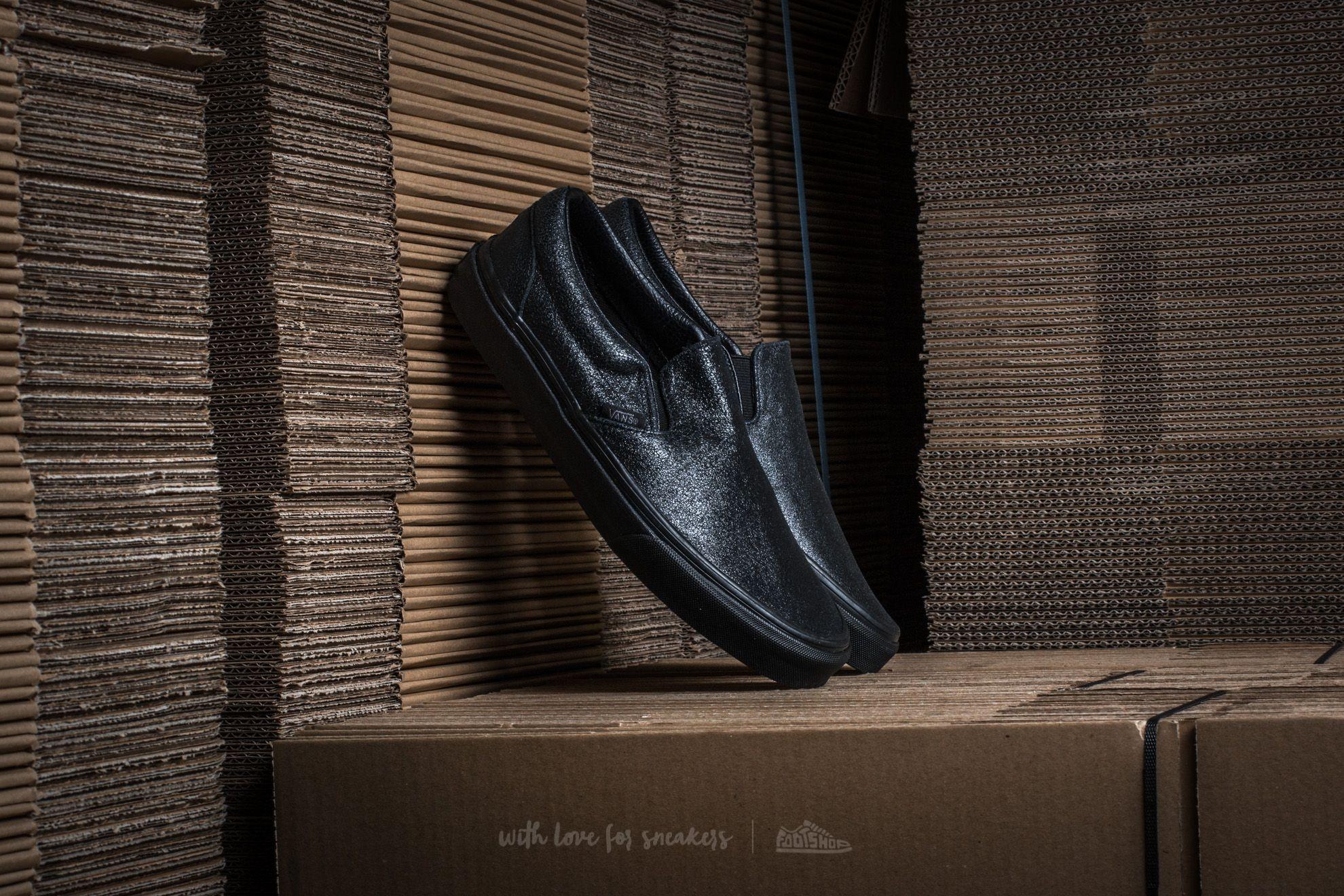 ede5235b82 Vans Classic Slip-On (Patent Crackle) Black  Black