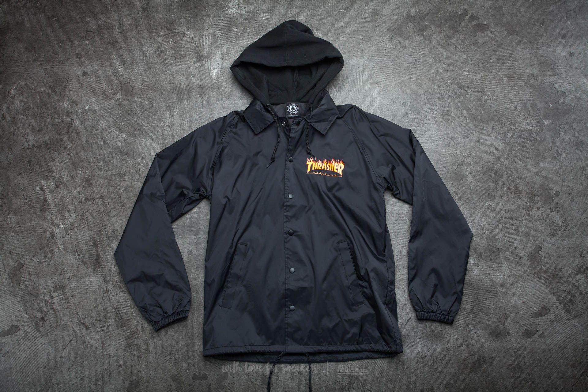 Thrasher Flame Logo Coach Jacket With Fleece Hoodie Black Footshop