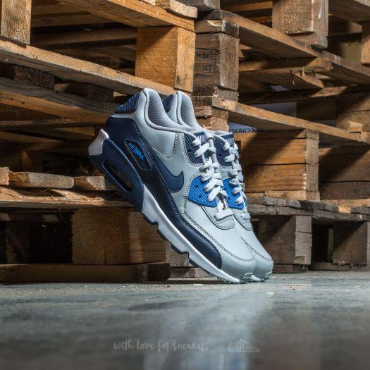 Nike Air Max 90 Leather (GS) Wolf Grey Binary Blue   Footshop
