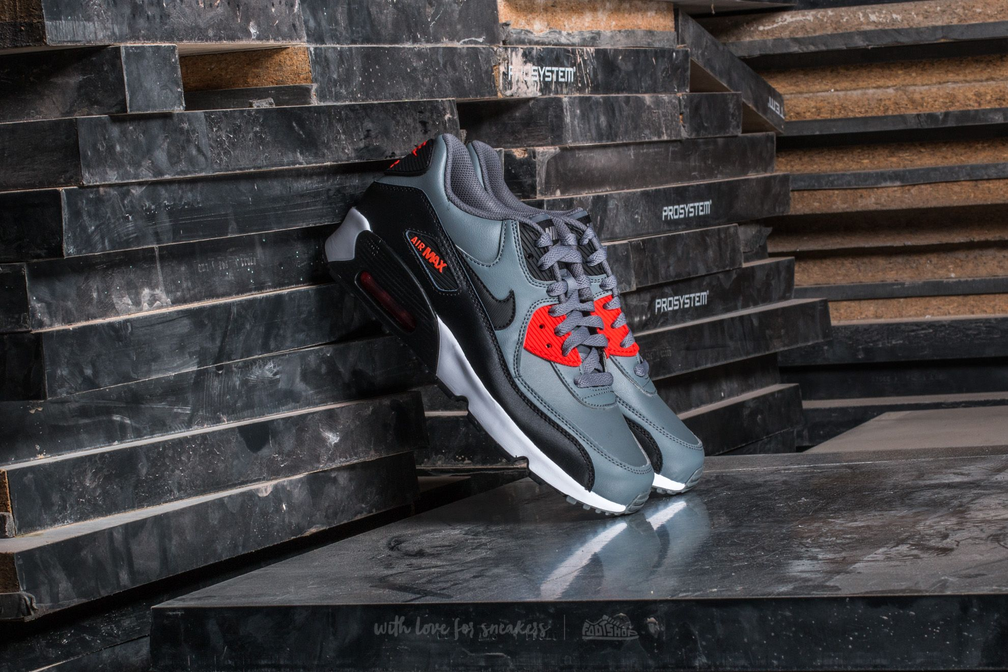 premium selection bf443 963e3 Nike Air Max 90 Leather (GS). Cool Grey  Black-Max Orange