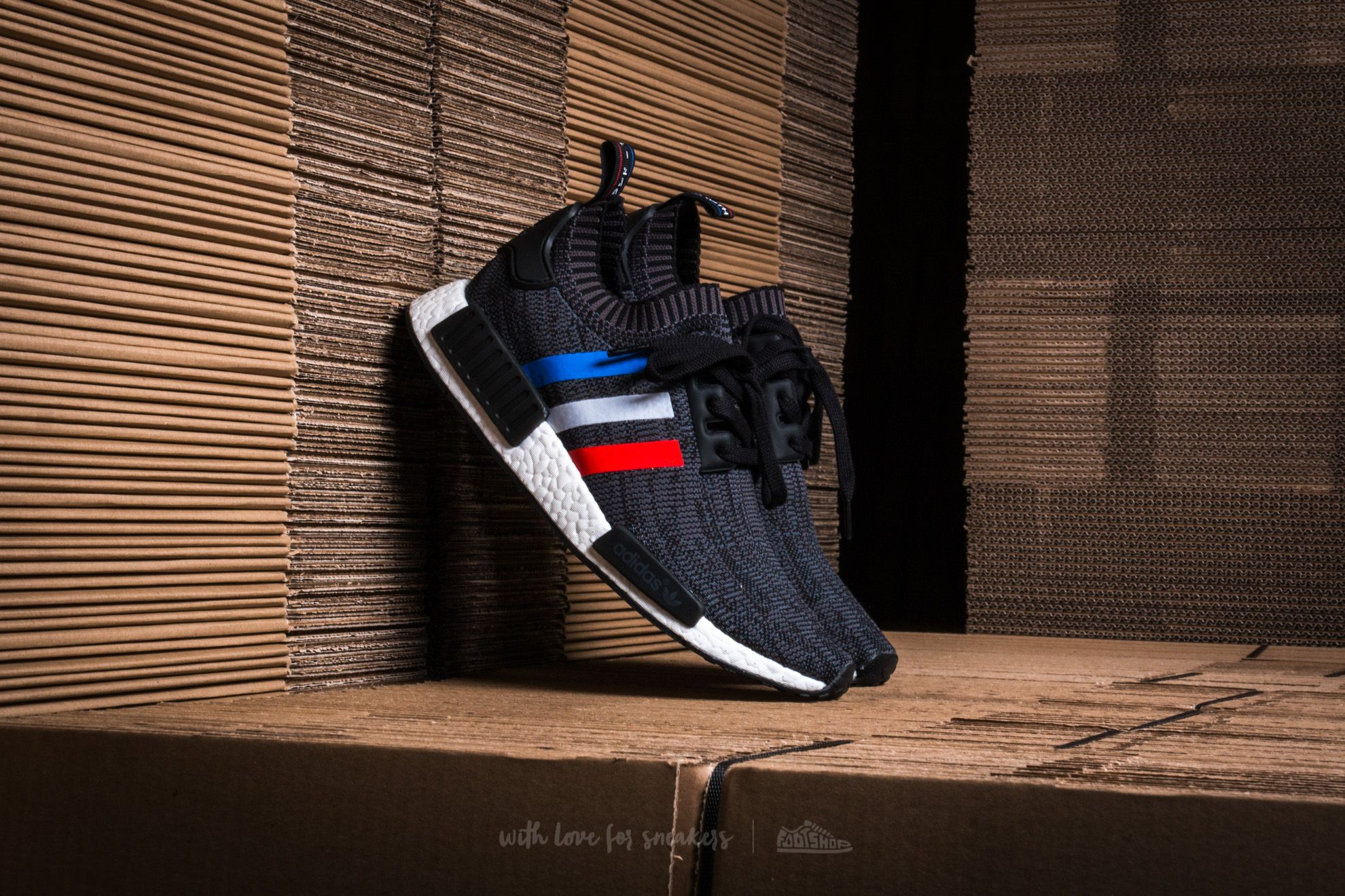 adidas NMD R1 Primeknit Core Black  Core Red  Running White ... 261e35b51