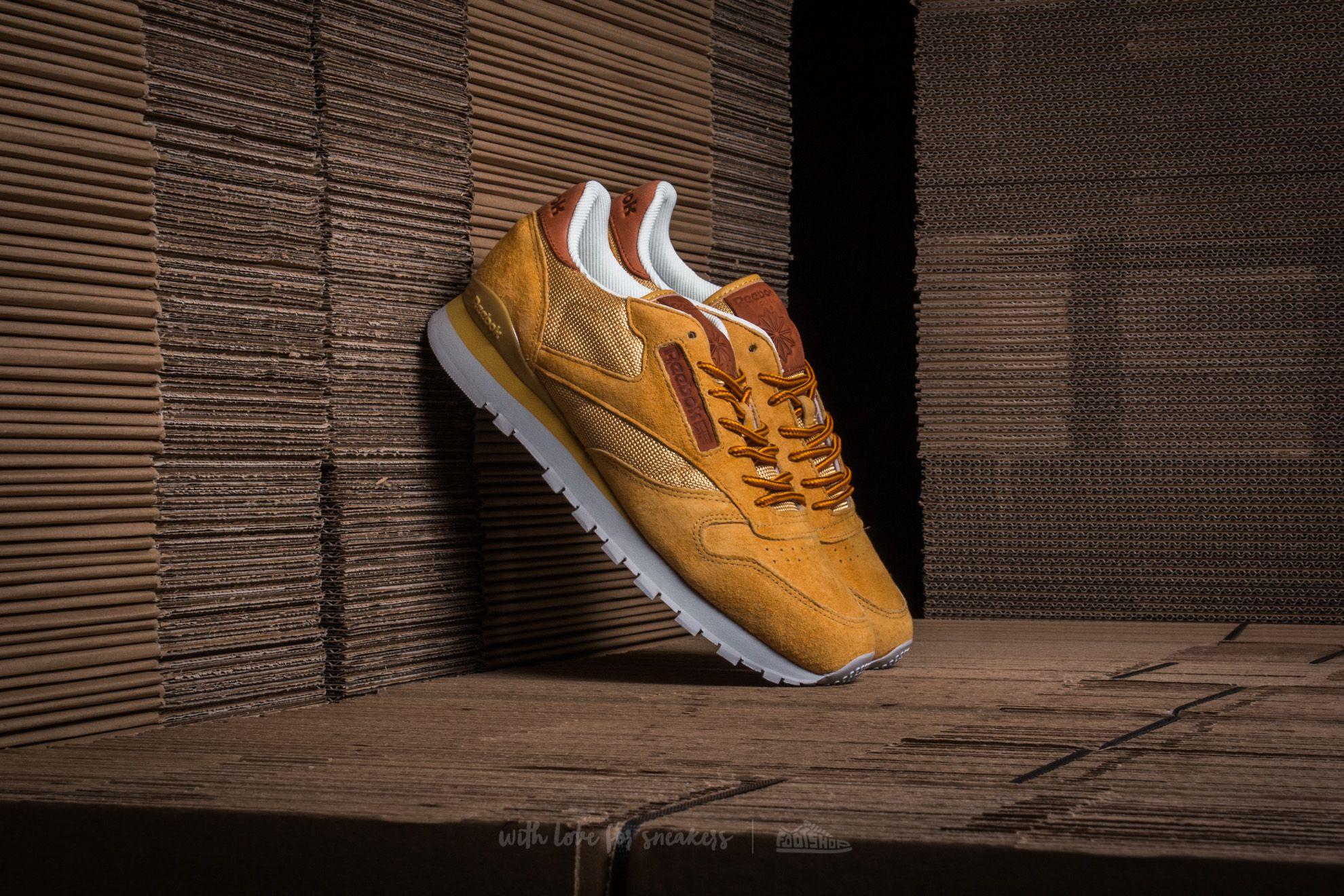 22012986ac2f4 Reebok Classic Leather OL Golden Wheat  Steel  Gold