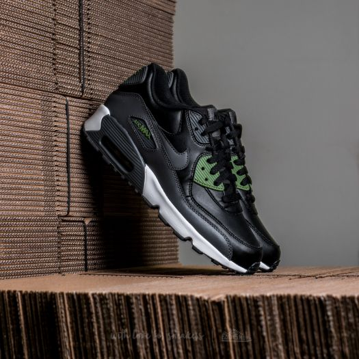 more photos d451f 4cf07 Nike Air Max 90 Leather (GS) Black/ Dark Grey-Palm Green ...