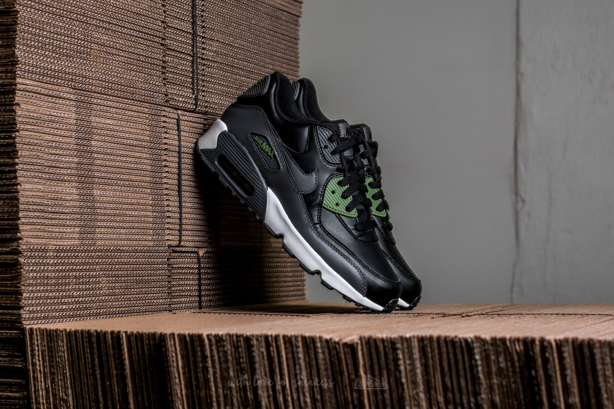 73736784e9 Nike Air Max 90 Leather (GS) Black/ Dark Grey-Palm Green   Footshop