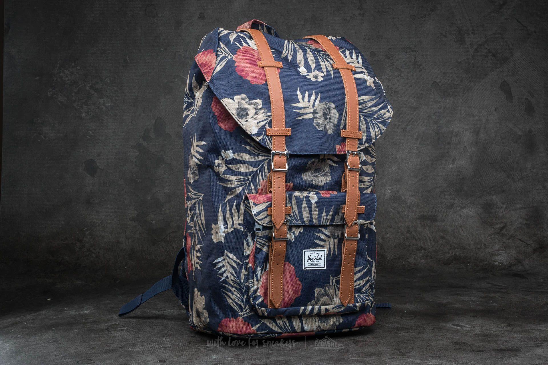 da5cbdff9bd Herschel Supply Co. Little America Backpack. Peacoat Floria  Tan Synthetic  Leather