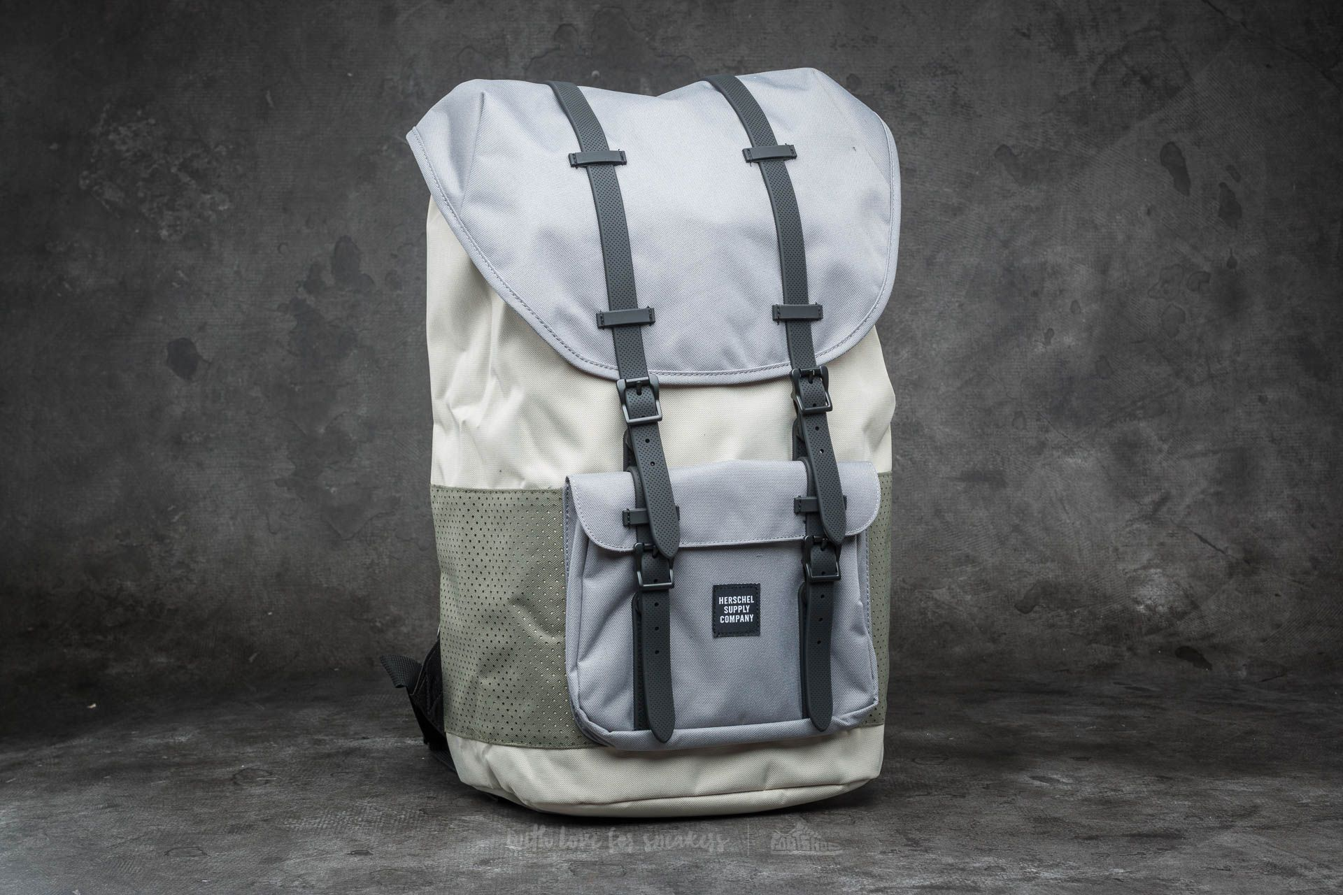 Herschel Supply Co. Little America Backpack Pelican  Deep Lichen Green   Black Rubber 2ac52be915a25
