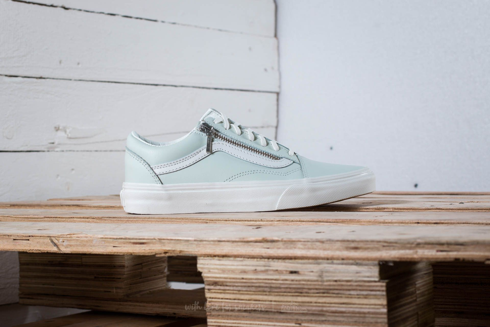 19315d0066 Vans Old Skool Zip (Leather) Zephyr Blue/ Blanc De Black | Footshop