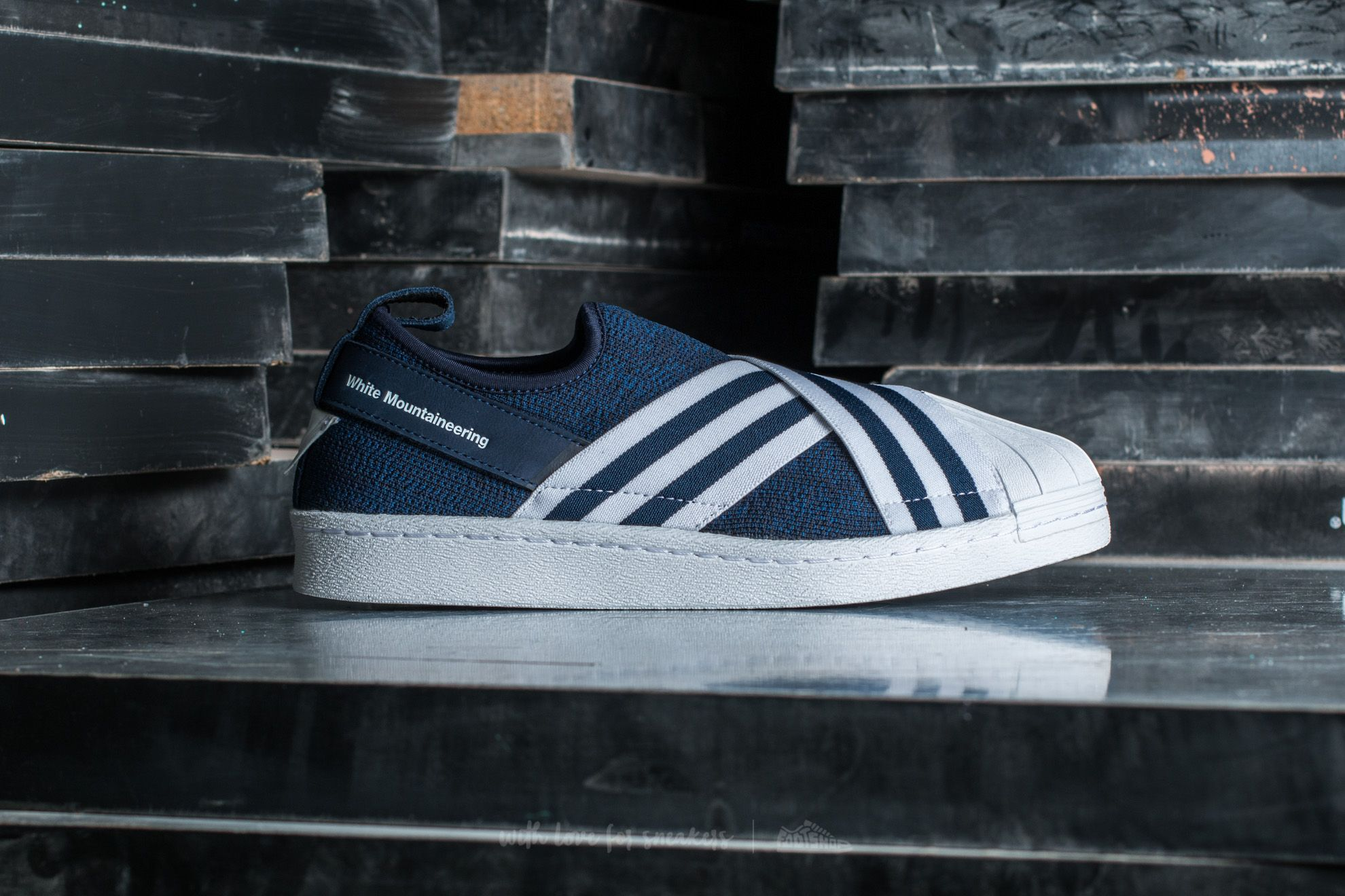 45c7d47aa34d adidas White Mountaineering Superstar Slip On Primeknit Collegiate Navy  Footwear  White  Footwear White at