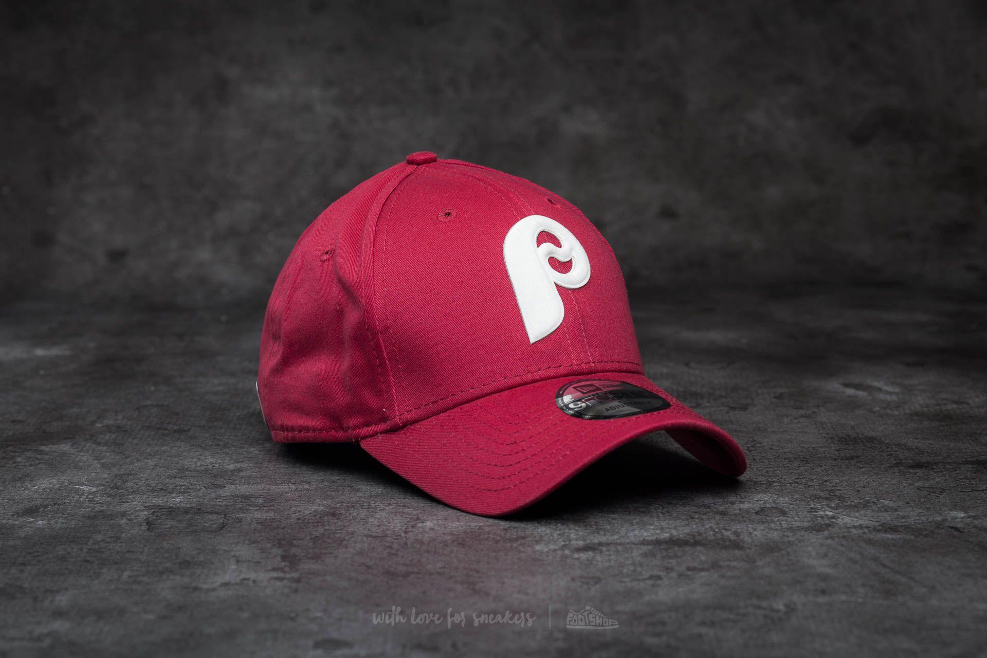 New Era 9Forty Flock Logo Philadelphia Phillies Cap Cardinal Red ... 9ebe5cdf89c