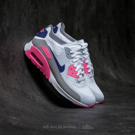 Nike Air Max 90 Ultra 2.0 Flyknit in White, Concord, Laser