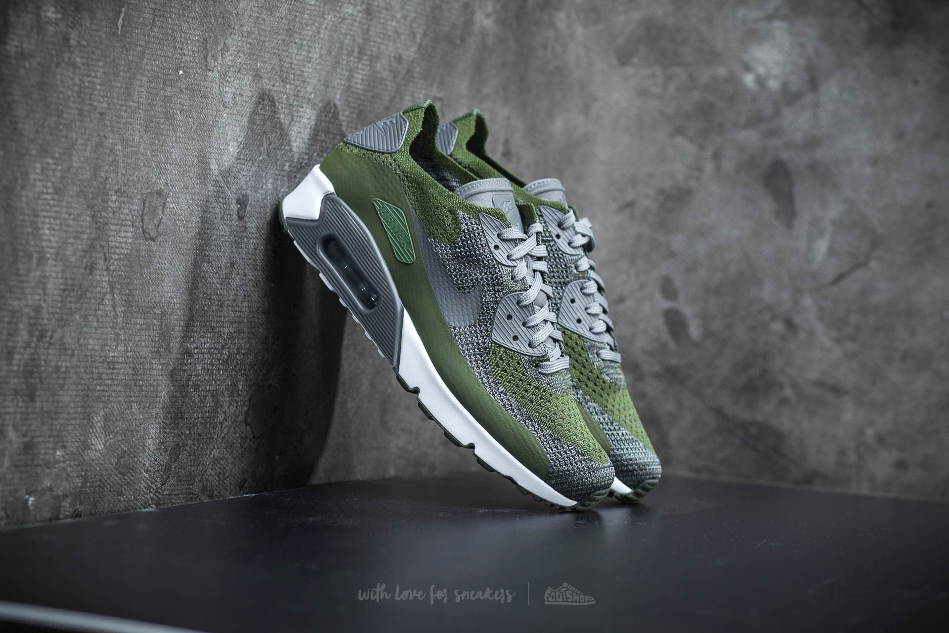 best sneakers 374ed 2ca2b Nike Air Max 90 Ultra 2.0 Flyknit Rough Green/ Dark Grey ...