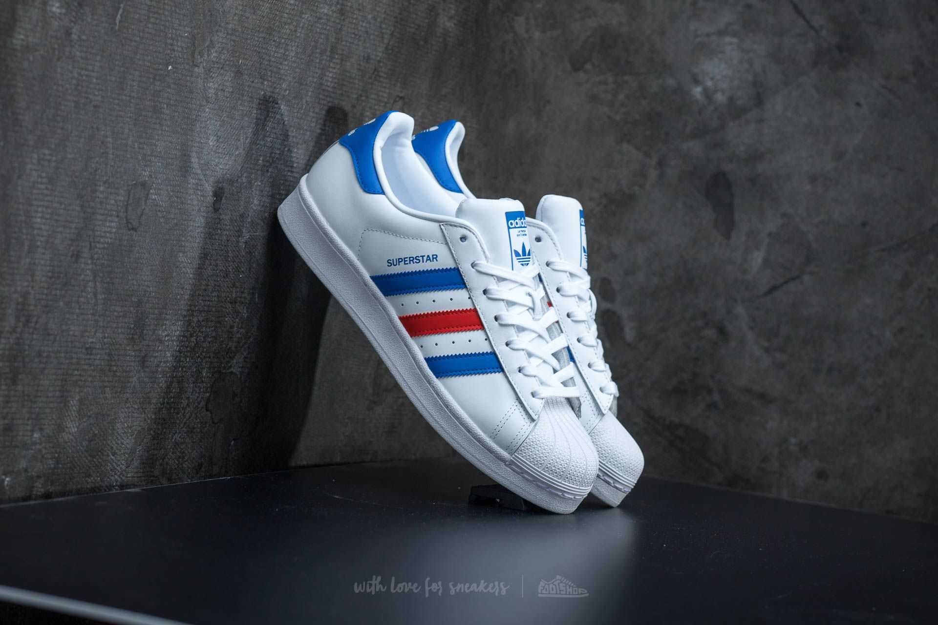 brand new 9519c 805f9 adidas Superstar. Ftw White  Blue  Red
