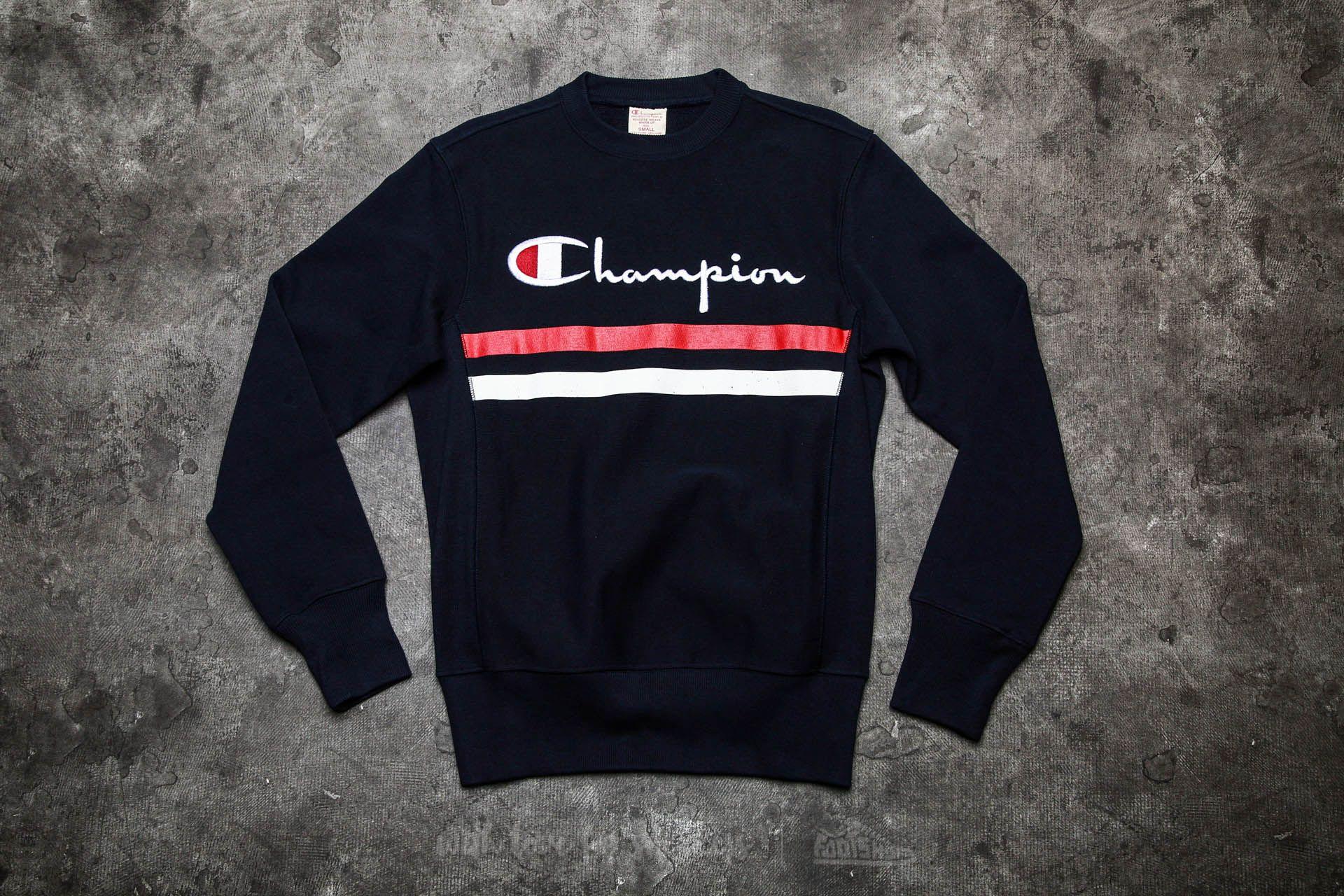 Champion Reverse Weave Logo Stripe Crewneck Sweatshirt Navy | Footshop