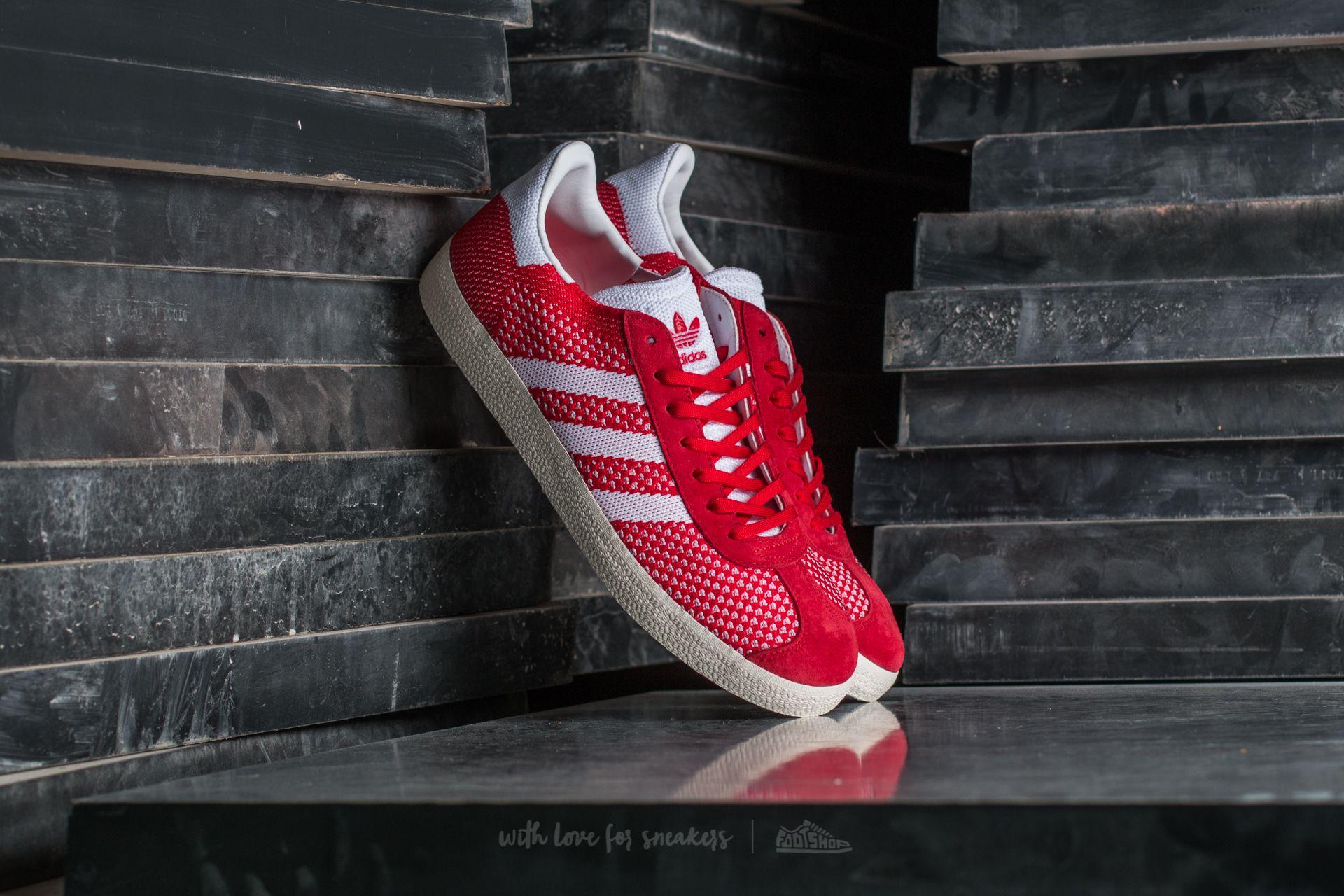 adidas Gazelle Primeknit Scarlet  Ftw White  Chalk White   Footshop eca0b1133d