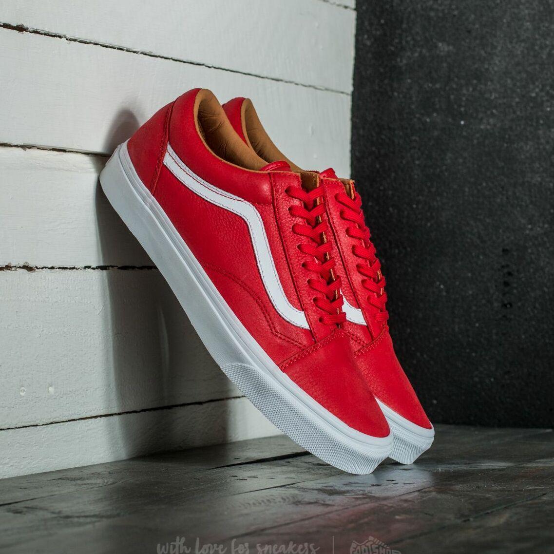 Vans Old Skool (Premium Leather) Racing Red/ True White EUR 36.5