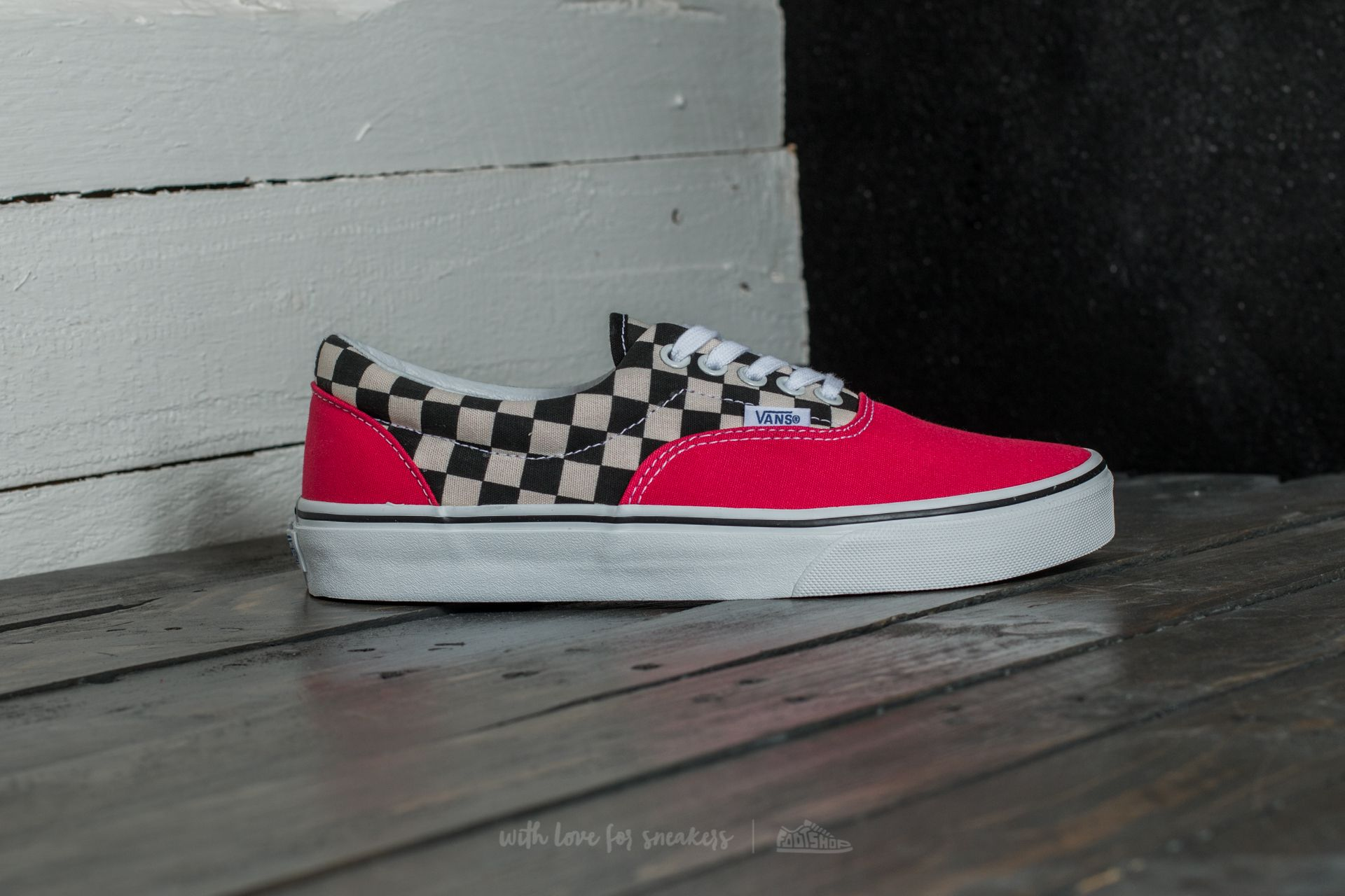 Vans Era 2 Tone Check Rouge RedTrue White Shoes