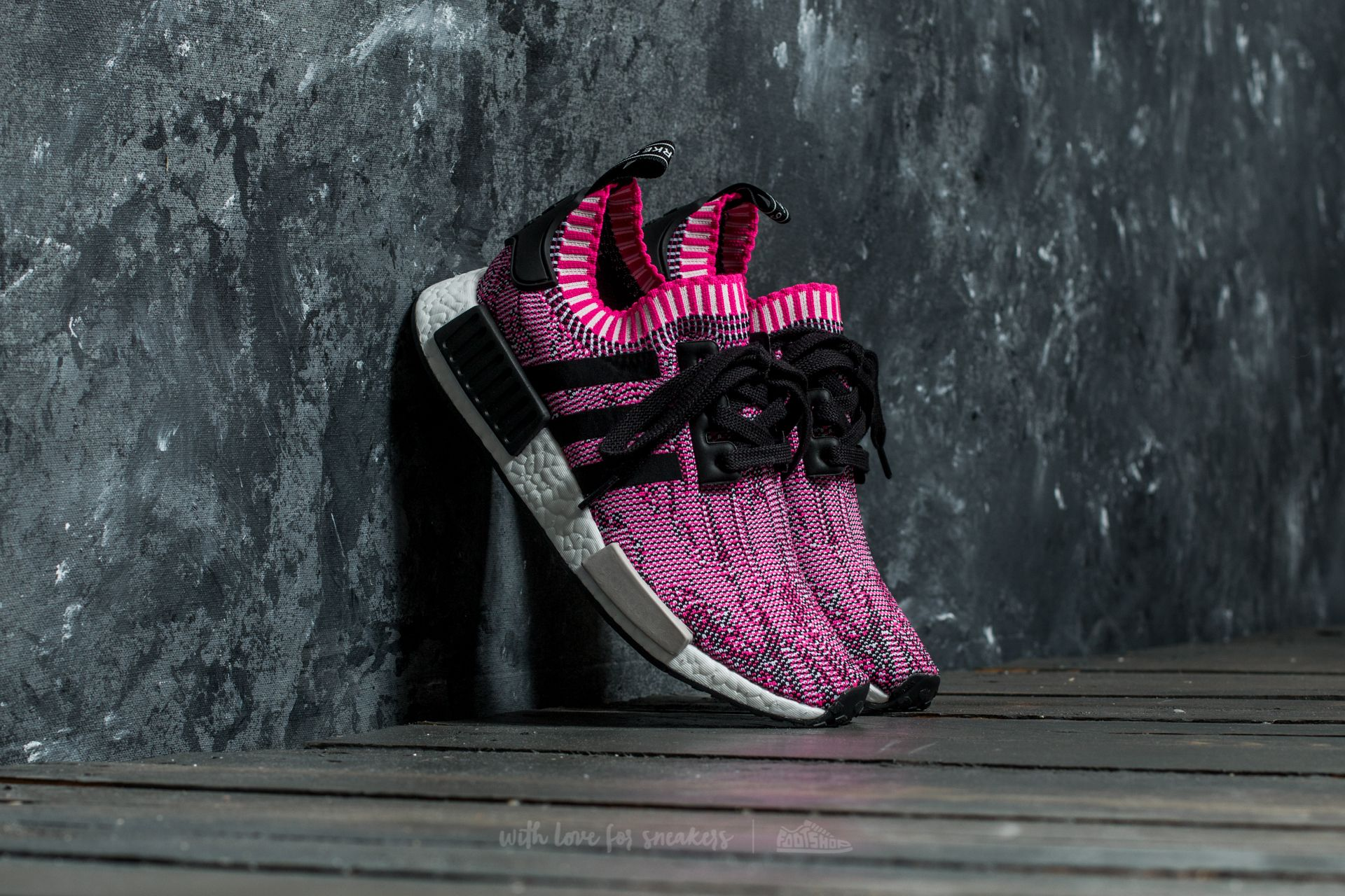 c71348f3e adidas NMD R1 W Primeknit. Shock Pink  Core Black  Running Ftw White
