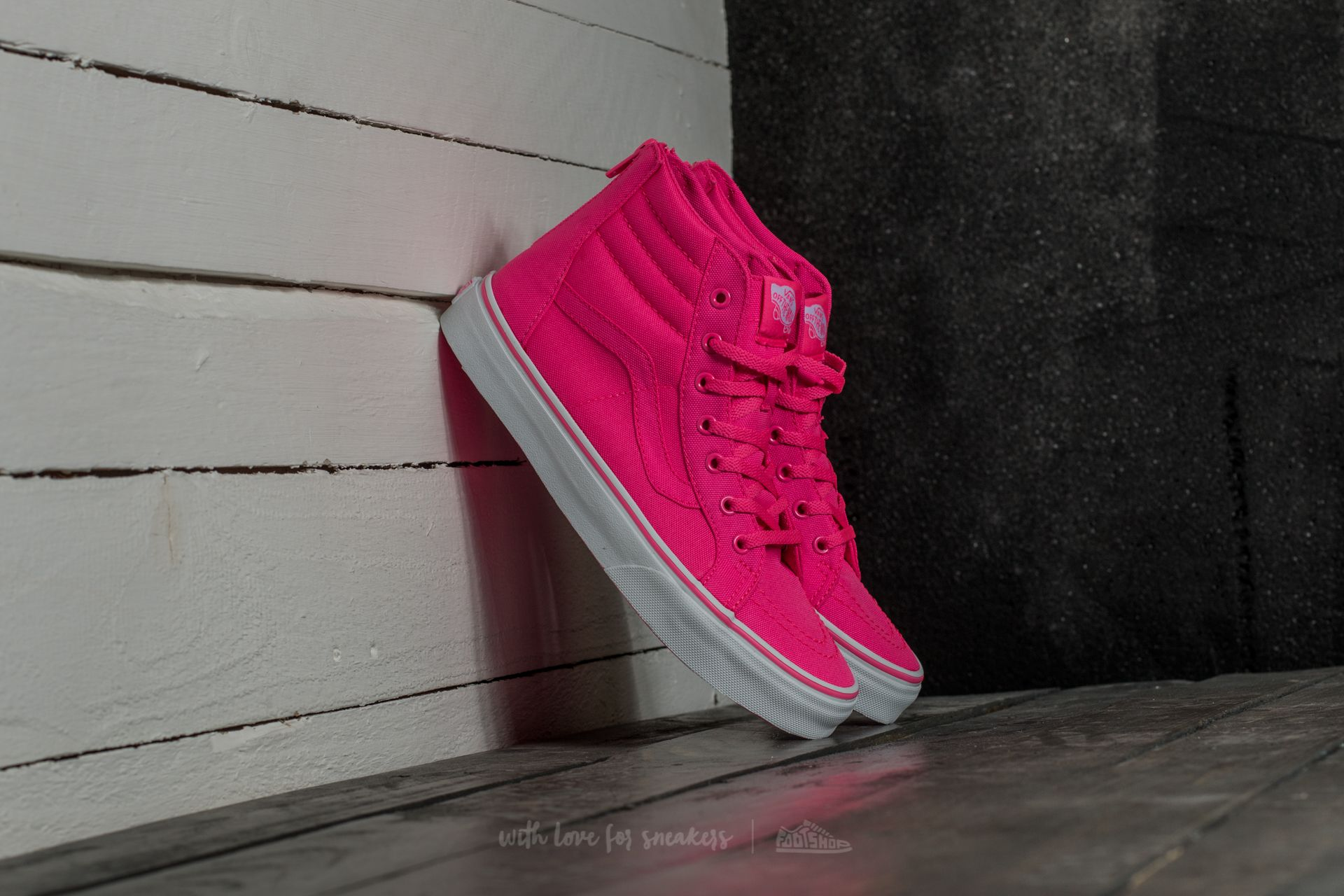 a1e438cace2968 Vans Sk8-Hi Zip (Neon Canvas) Pink  True White
