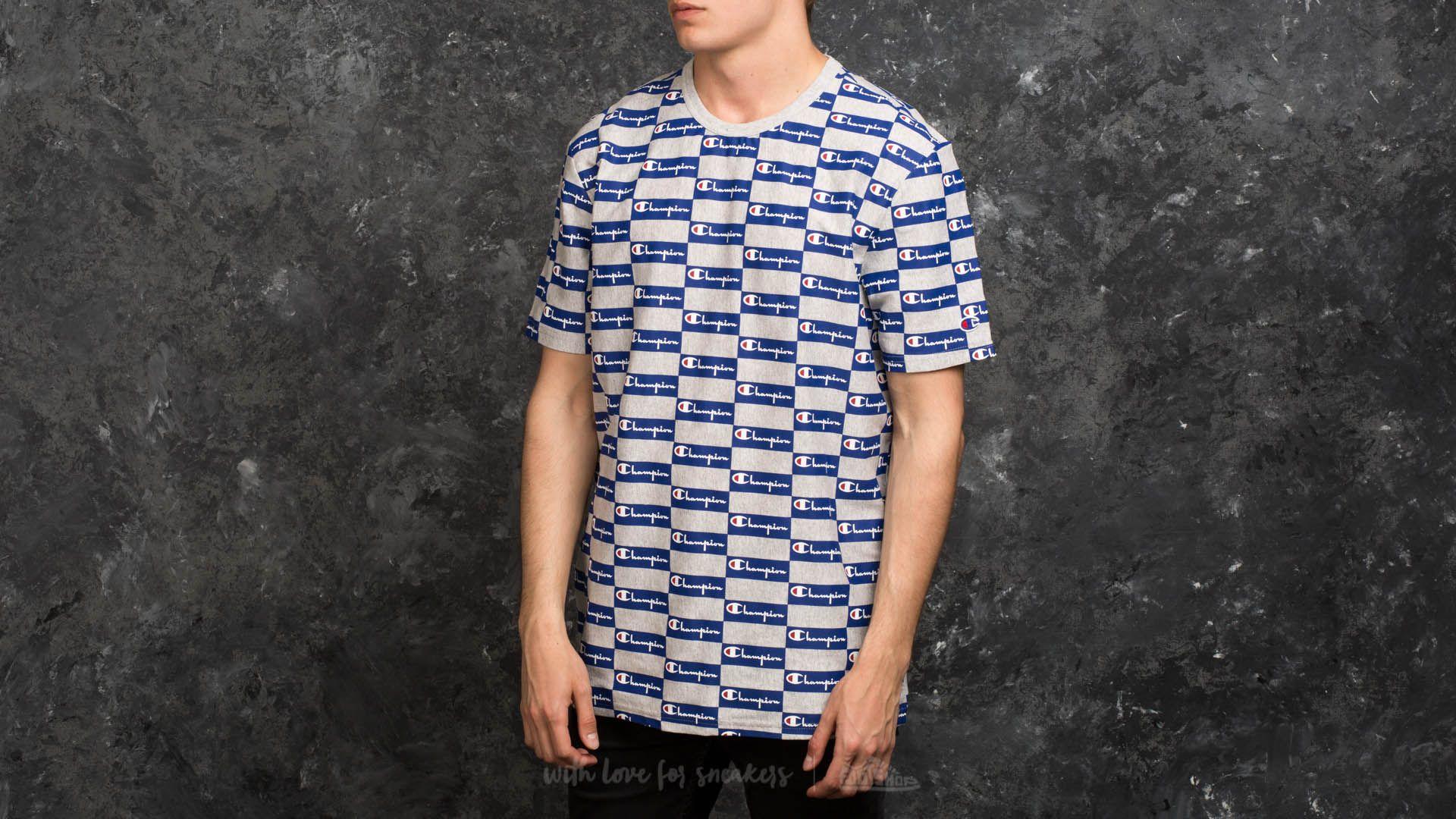 c0714877c Champion Reverse Weave Tee Allover Print Grey/ Blue | Footshop