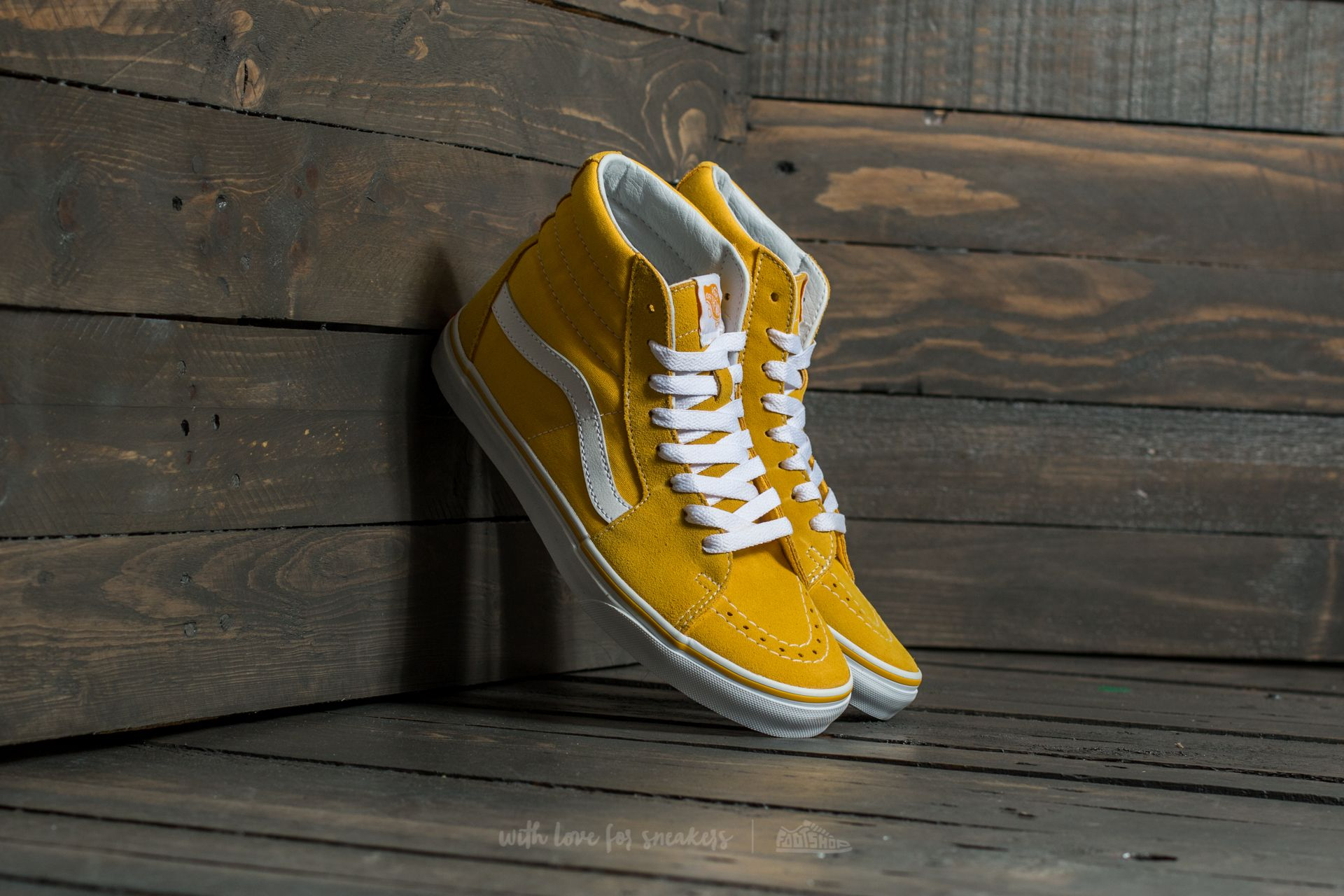 9283f135f37953 Vans Sk8-Hi (Suede Canvas) Spectra Yellow  True White
