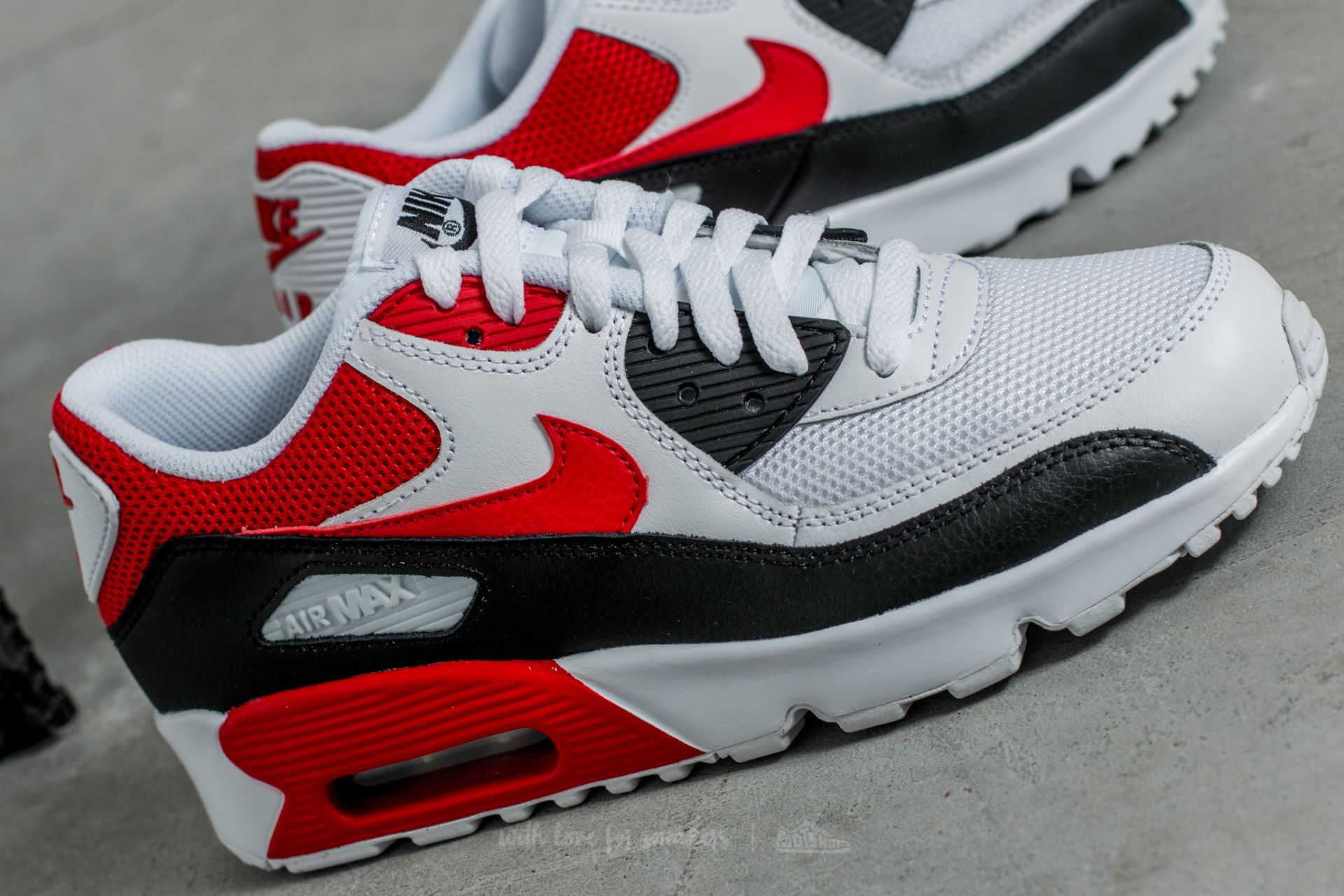 Nike Air Max 90 Mesh (GS) White University Red Black | Footshop