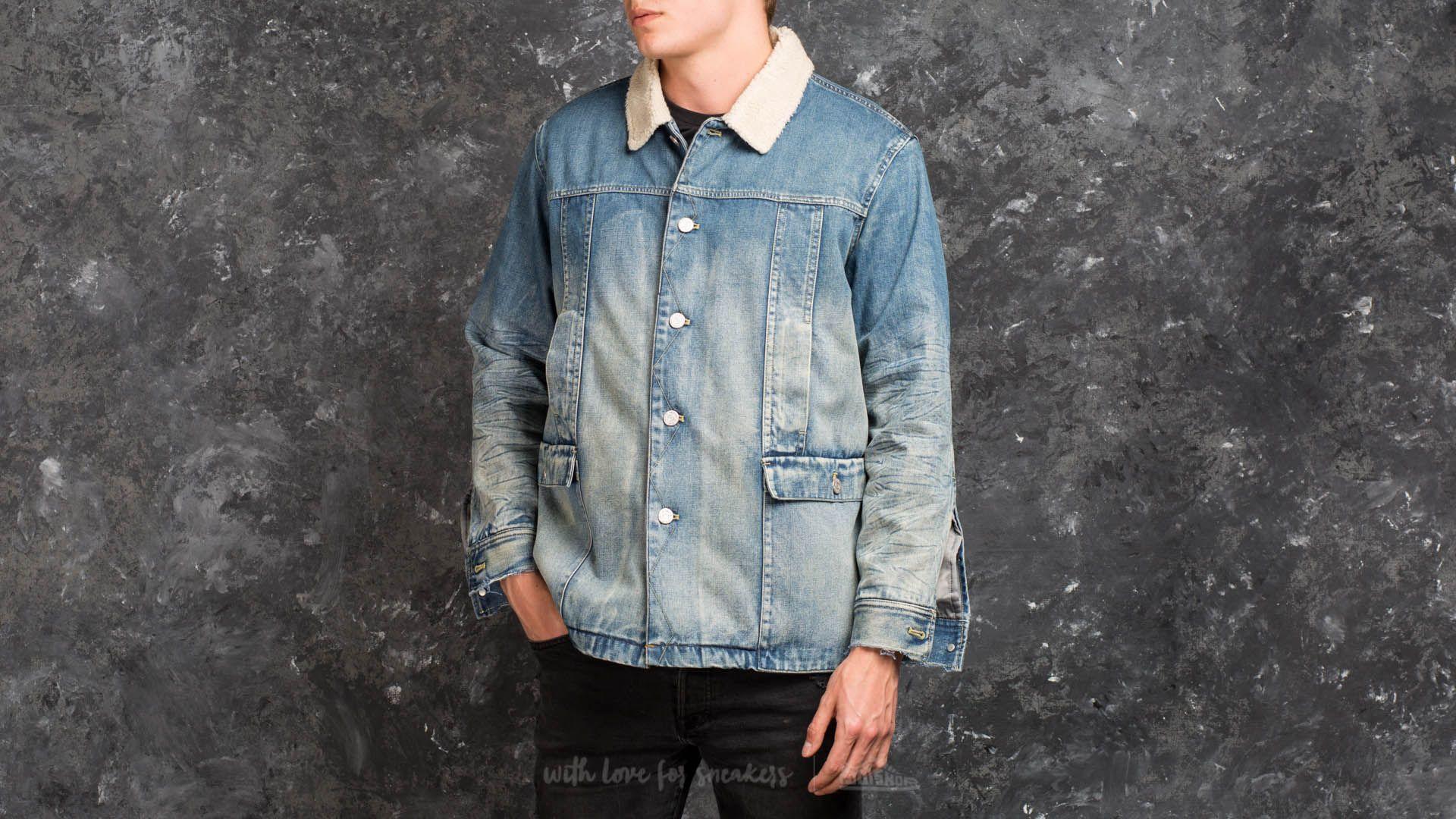 STAMPD Faux Shearling Denim Jacket Washed Indigo