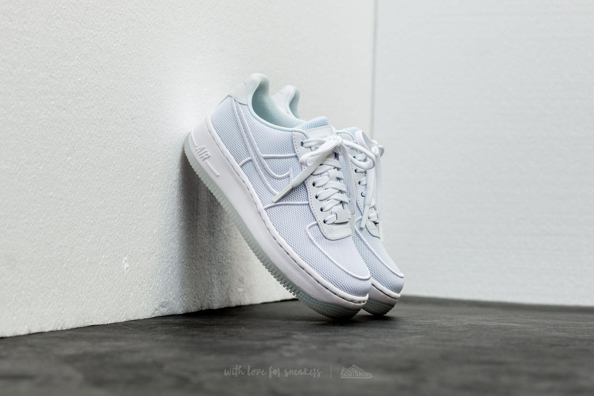 b3bffc2a8e7 Nike W Air Force 1 Low Upstep Br White/ White-Glacier Blue | Footshop