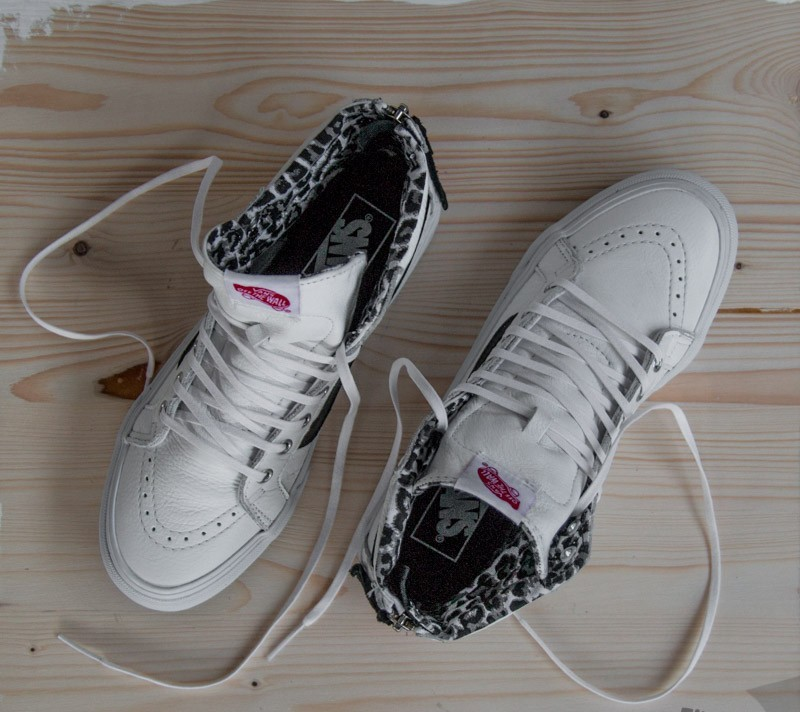 8910b92ed2a5 Vans Sk8-Hi Slim Zip (Leather) True White Leopard