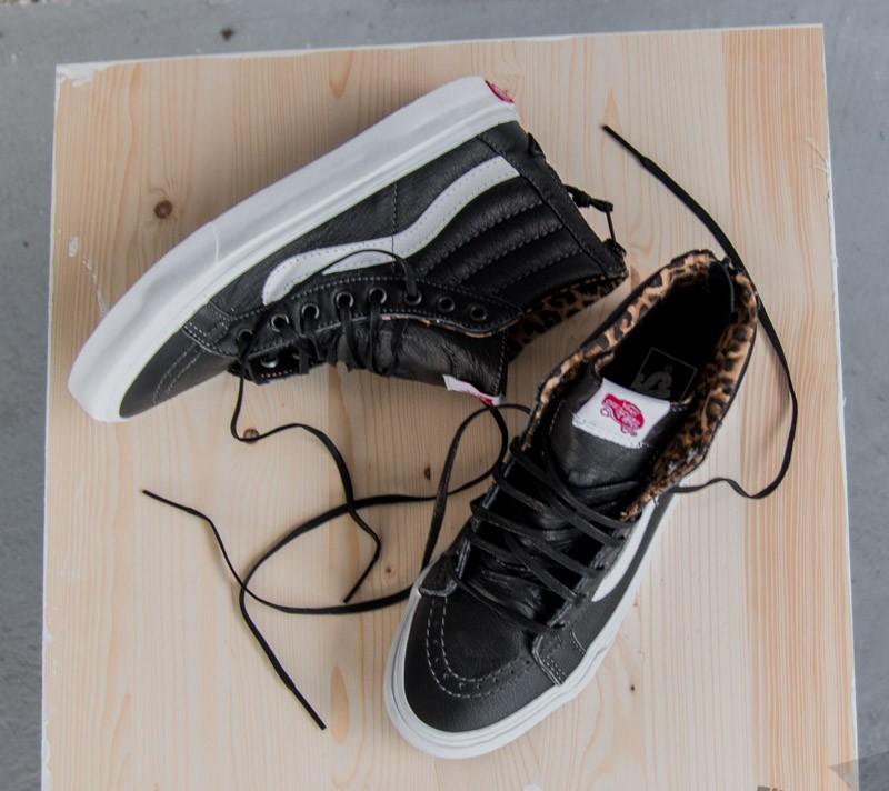 Vans Sk8-Hi Slim Zip (Leather) Black Leopard  a890bd9a0