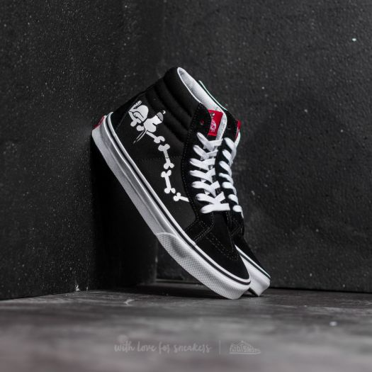 Vans x Peanuts SK8 Hi Reissue Snoopy Bones Black | Footshop