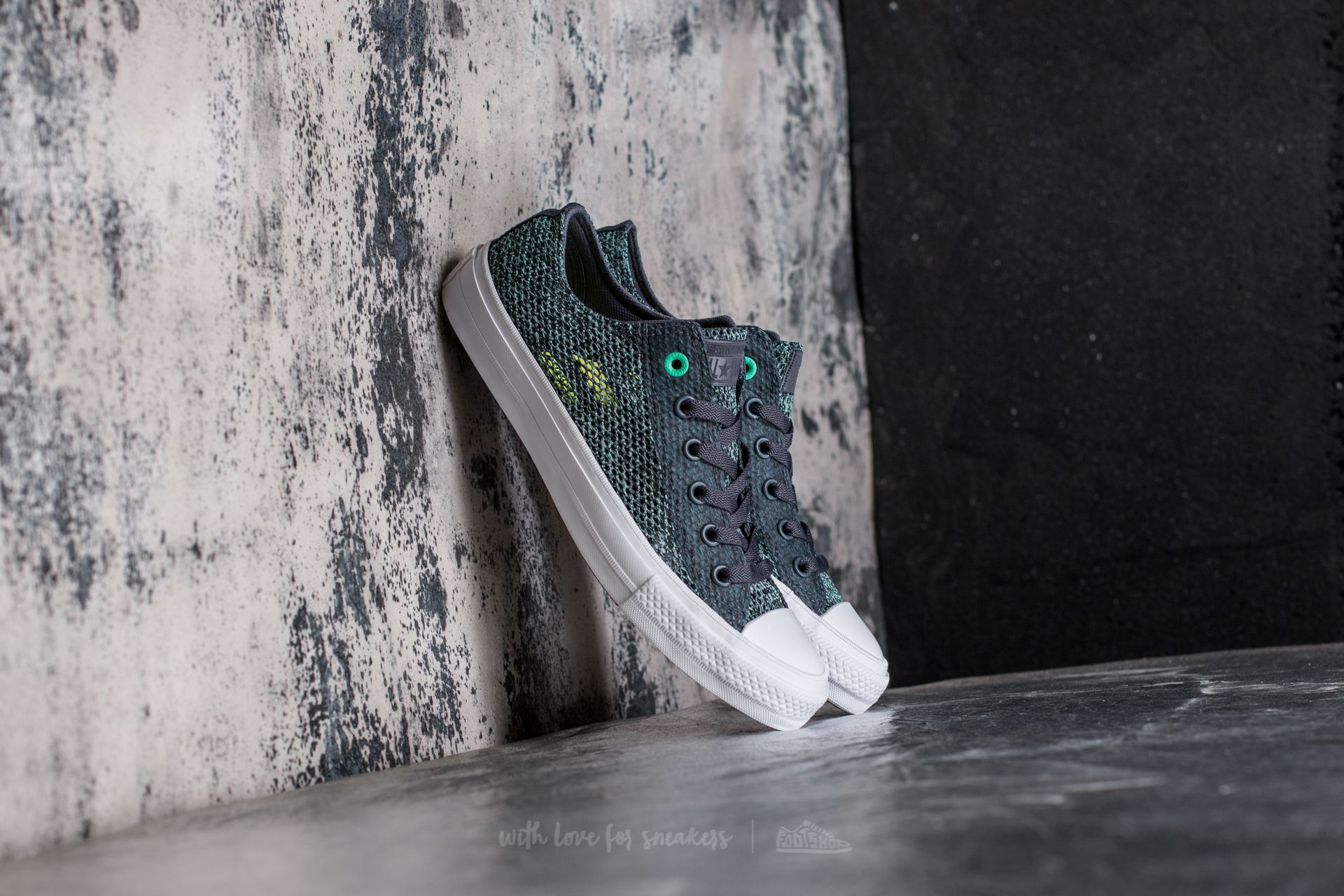 9077645c5364 Converse Chuck Taylor All Star II Ox Sharkskin  Green Glow  White ...