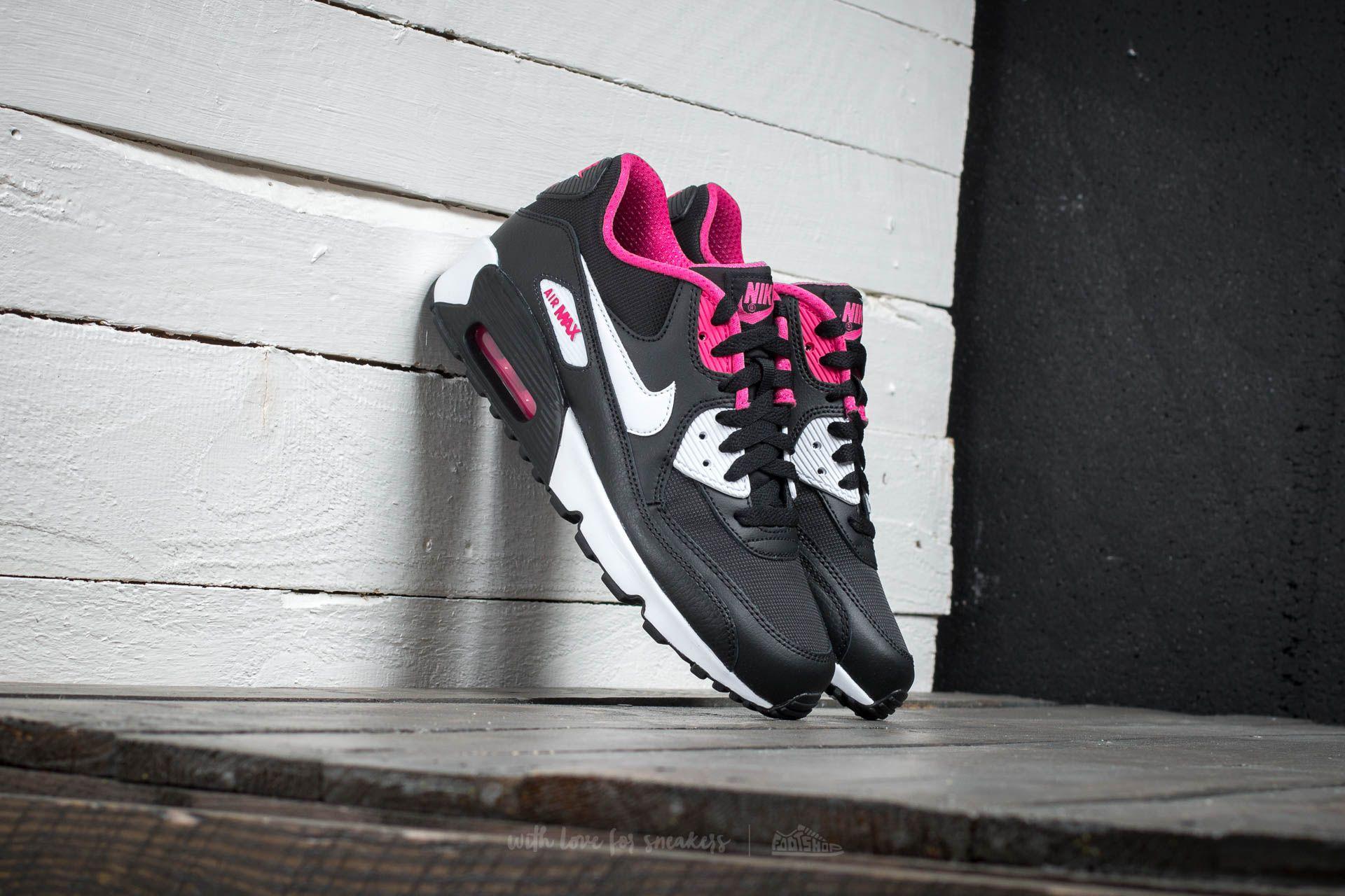 Nike Air Max 90 Mesh (GS) Black White Vivid Pink | Footshop