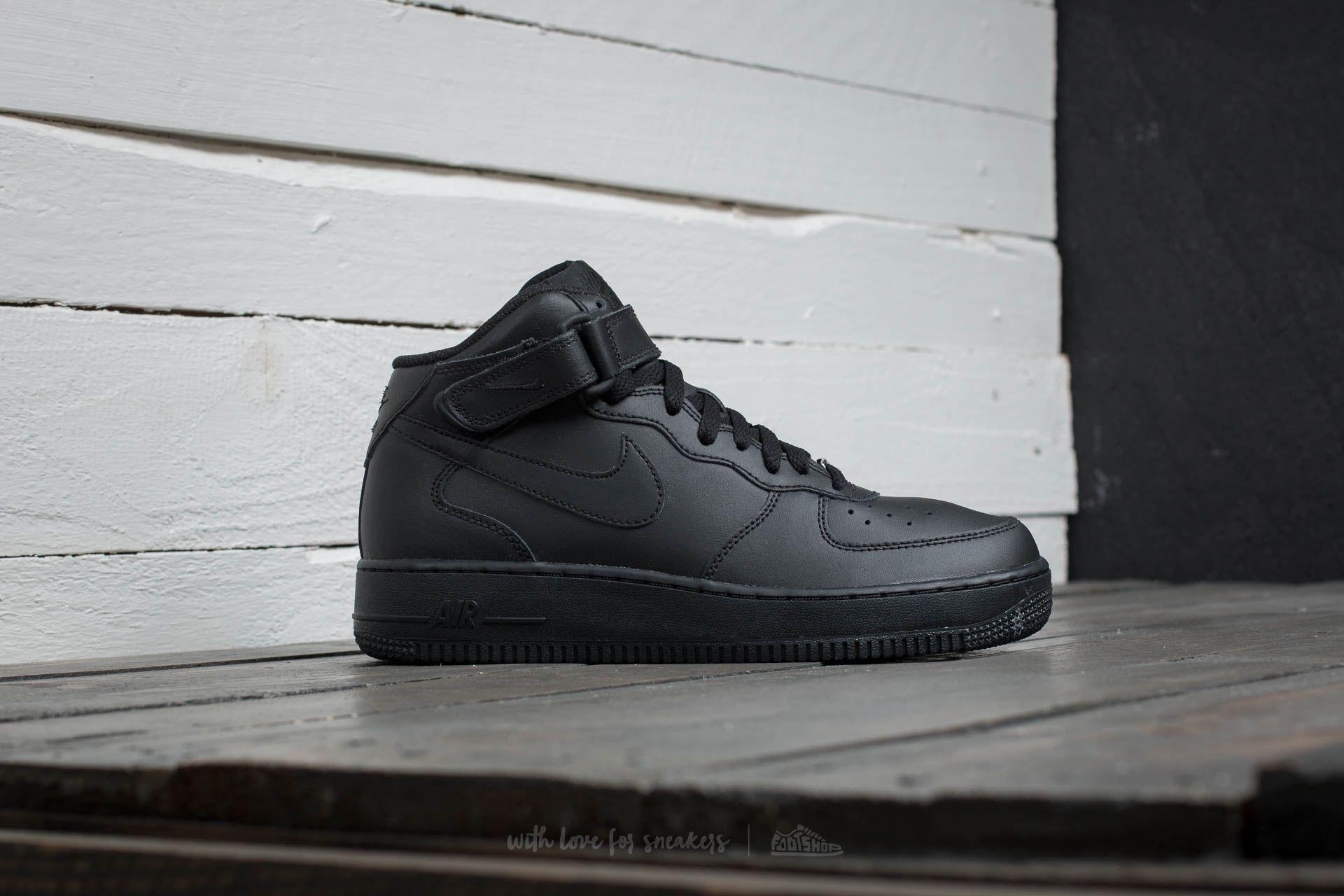 Nike Air Force 1 Mid (GS) Black/ Black   Footshop