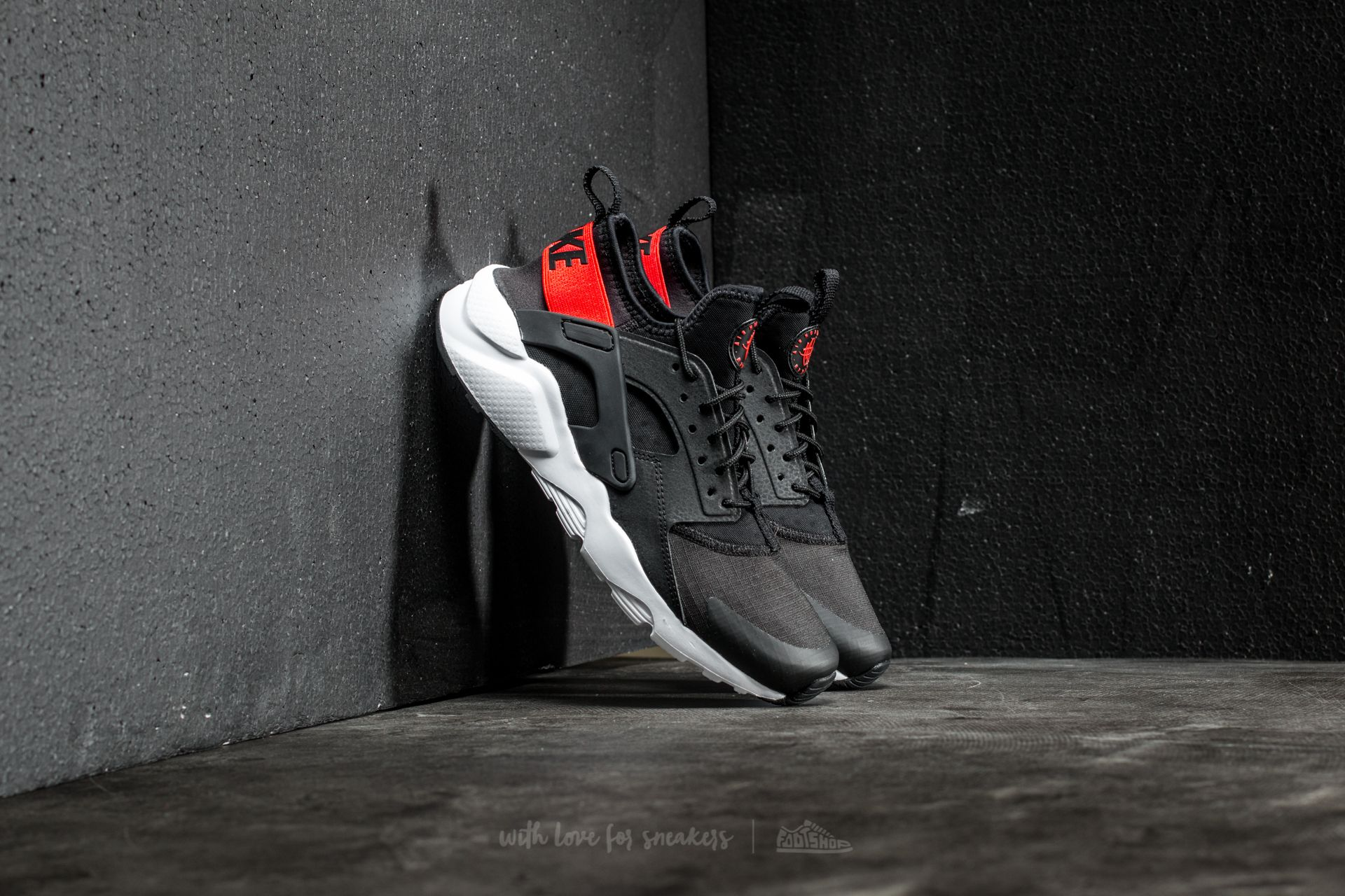 b718e55cf2cb Nike Air Huarache Run Ultra GS Black  Max Orange-White